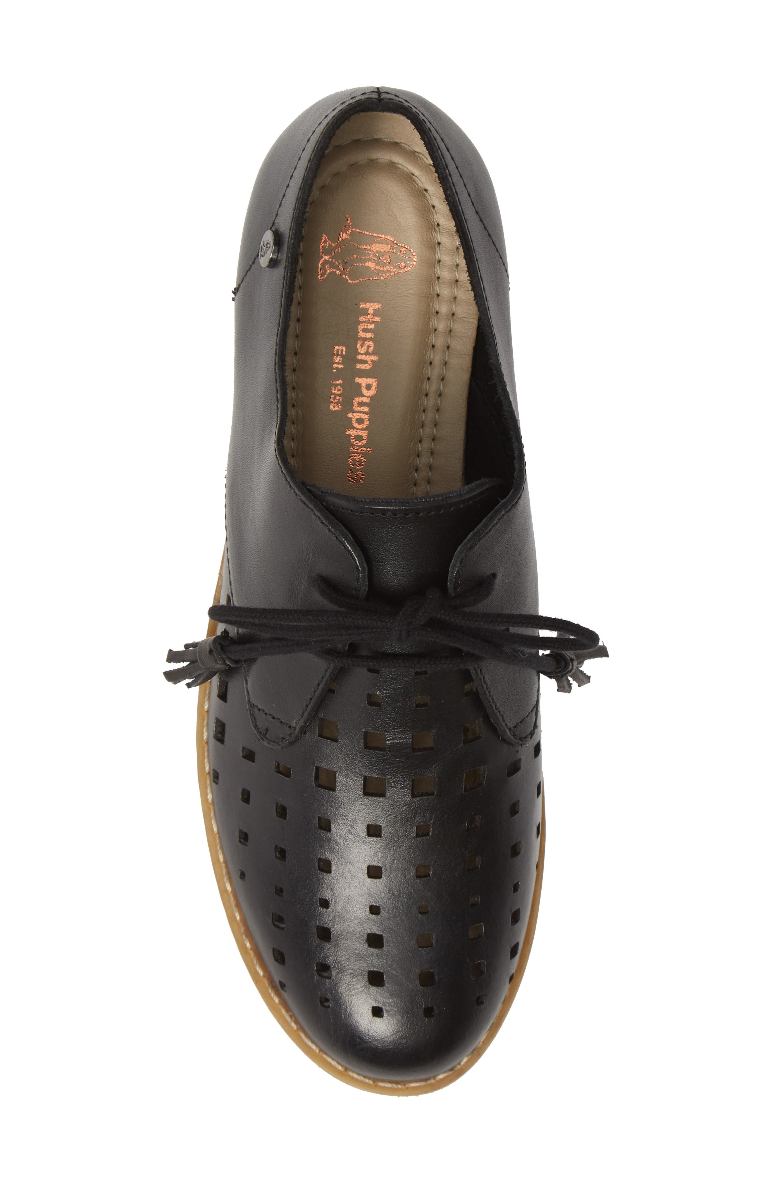 HUSH PUPPIES<SUP>®</SUP>, Chardon Perforated Derby, Alternate thumbnail 5, color, BLACK LEATHER