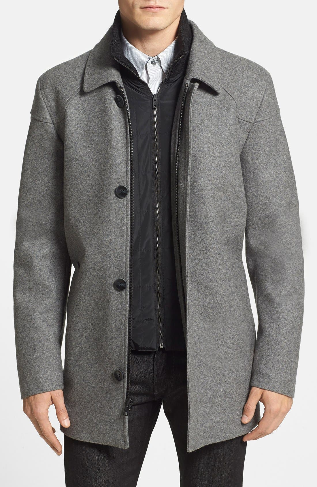 VINCE CAMUTO, Melton Car Coat with Removable Bib, Main thumbnail 1, color, HEATHER GREY
