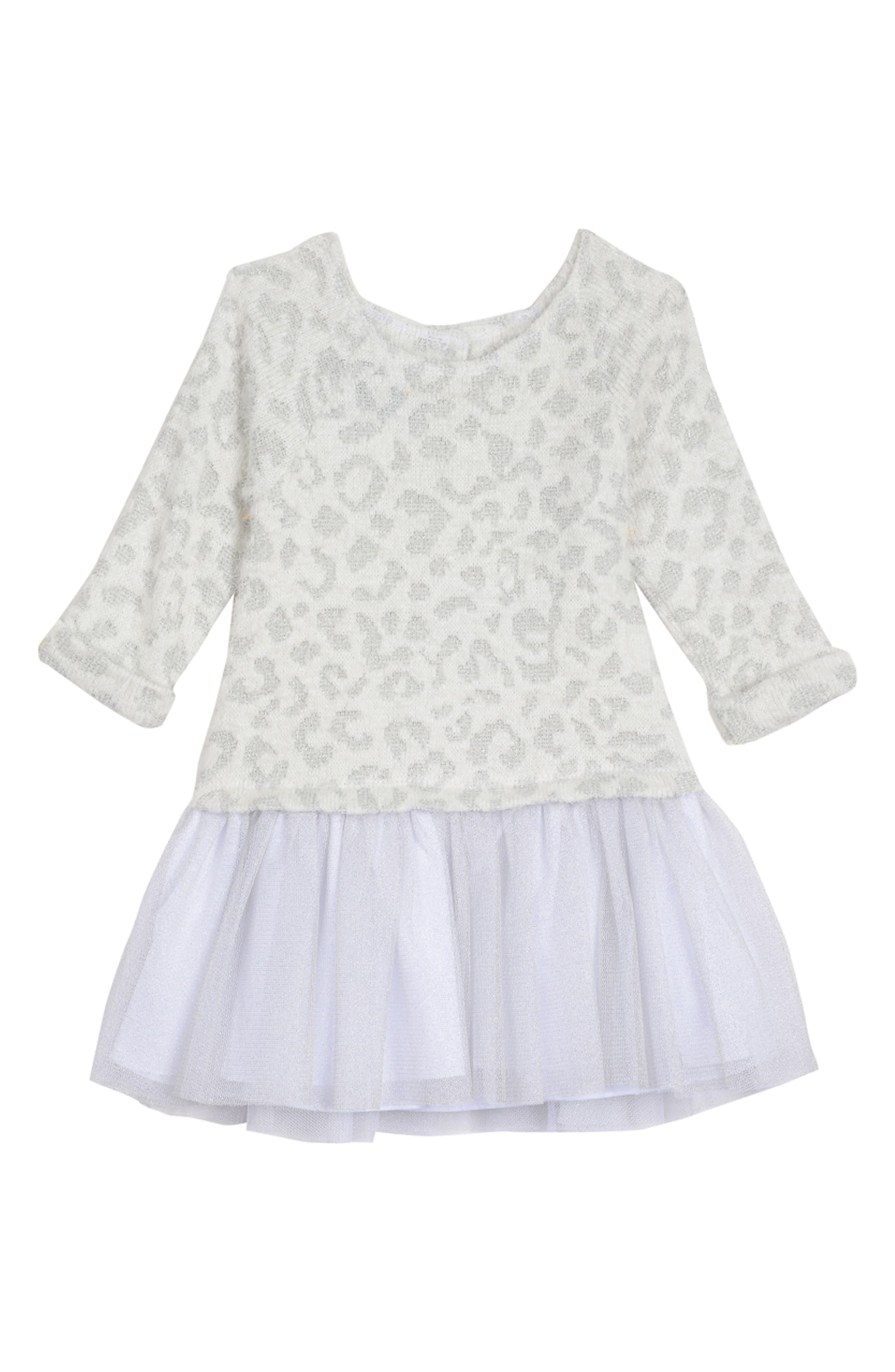 PIPPA & JULIE, Animal Pattern Sweater Dress, Main thumbnail 1, color, WHITE/ SILVER