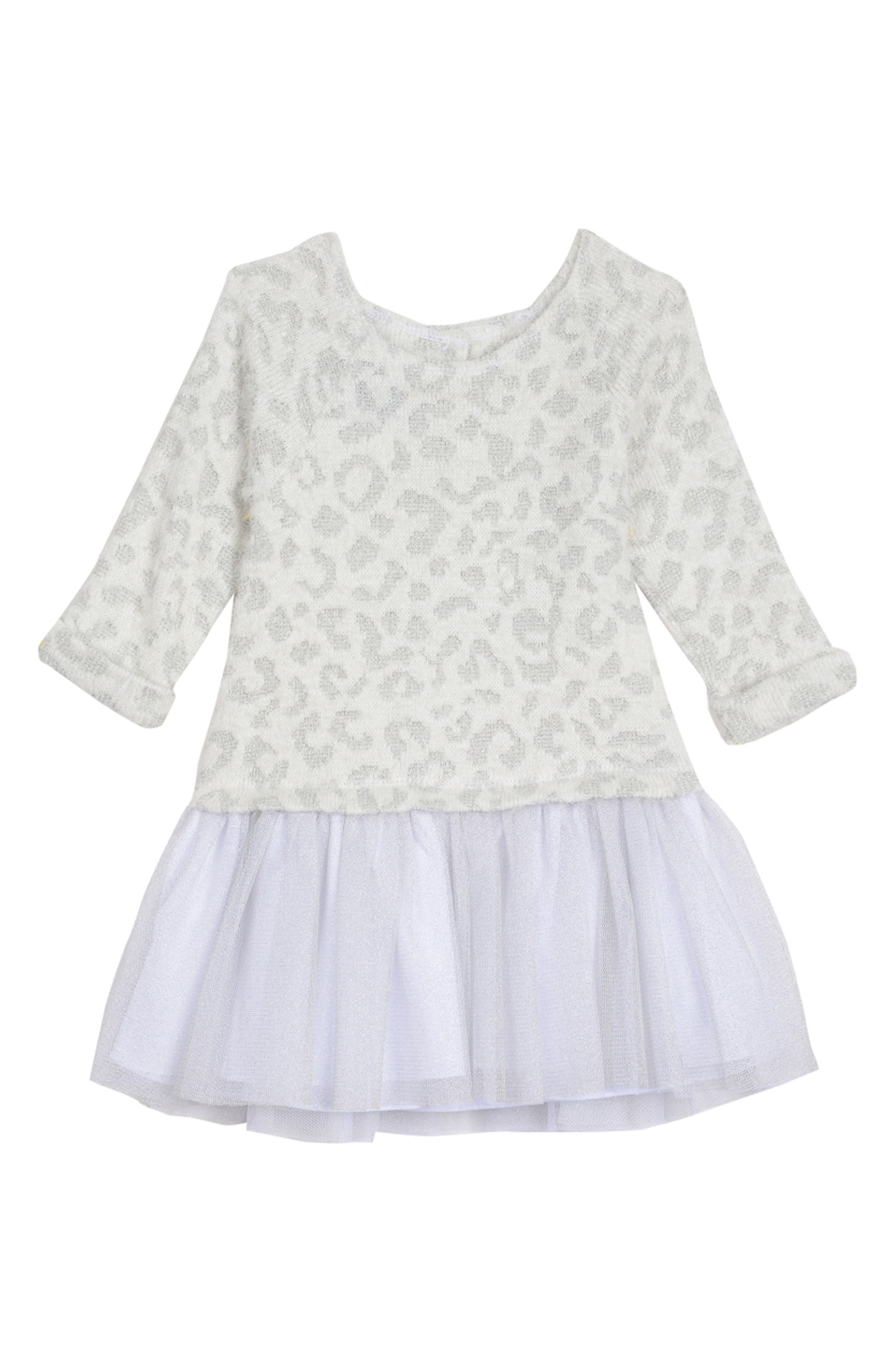 PIPPA & JULIE Animal Pattern Sweater Dress, Main, color, WHITE/ SILVER