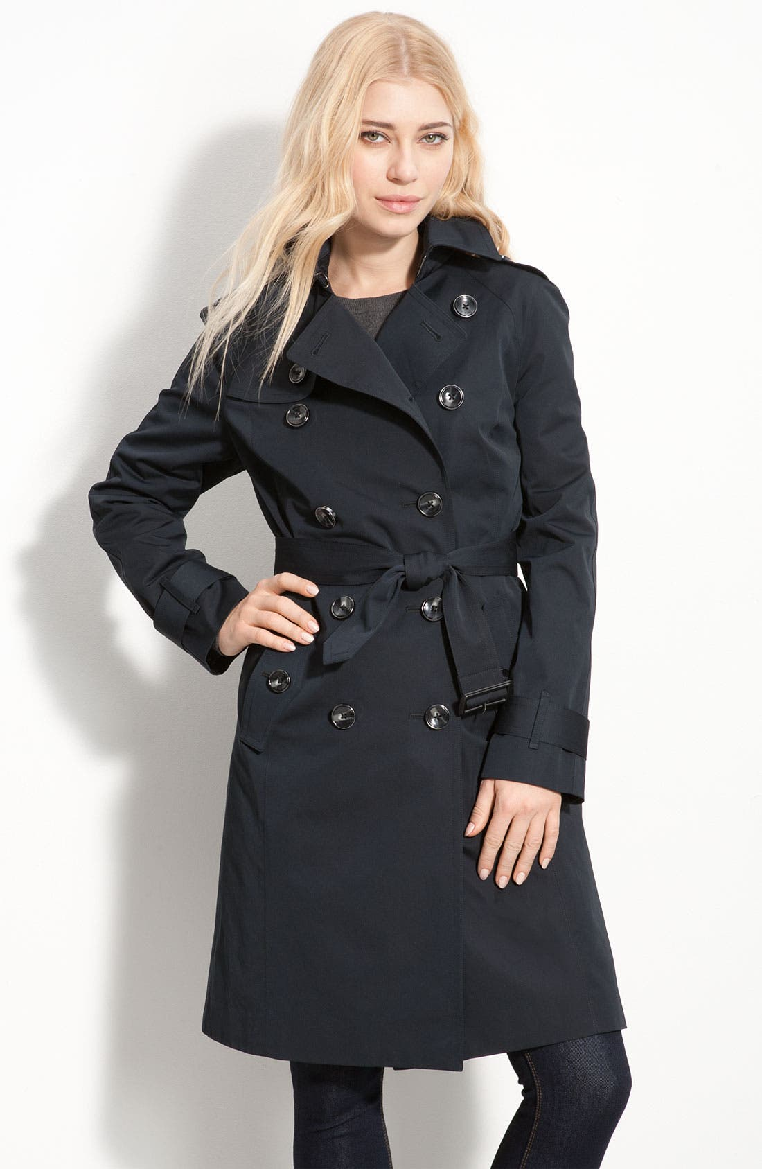 LONDON FOG, Heritage Raglan Sleeve Trench Coat with Detachable Liner, Main thumbnail 1, color, 001