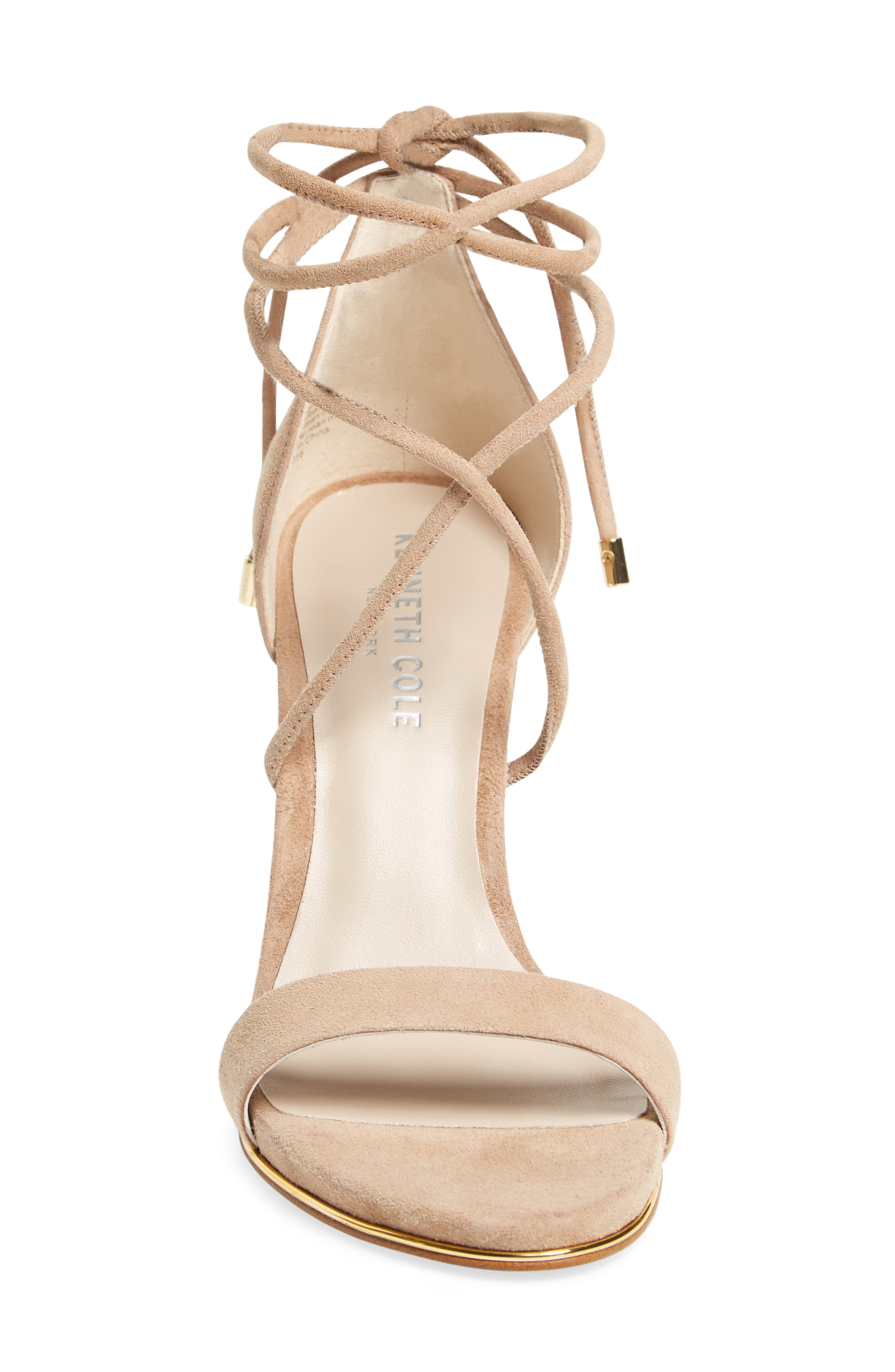 KENNETH COLE NEW YORK, Berry Wraparound Sandal, Alternate thumbnail 3, color, ALMOND SUEDE