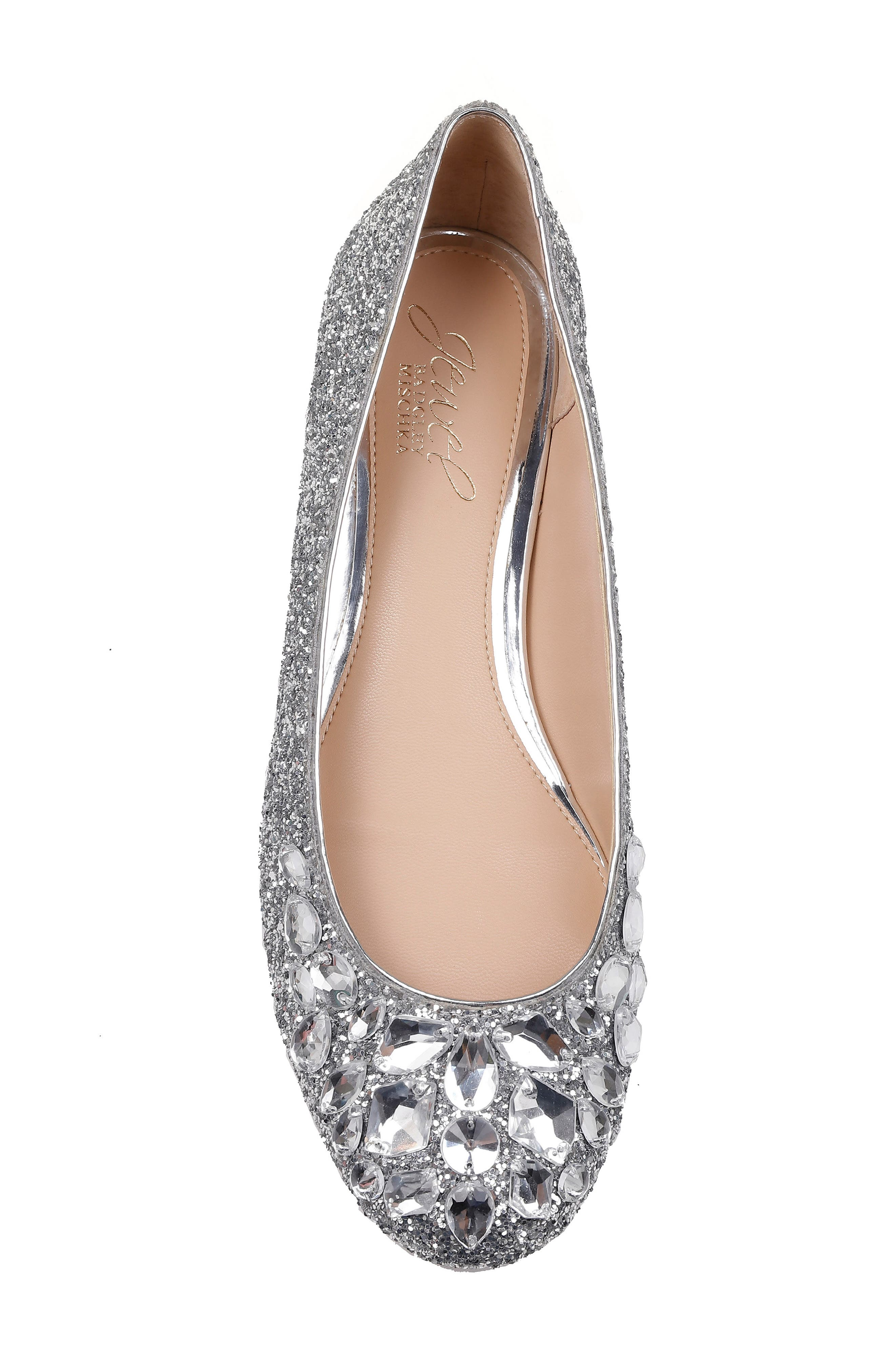 JEWEL BADGLEY MISCHKA, Mathilda Embellished Ballet Flat, Alternate thumbnail 5, color, SILVER GLITTER