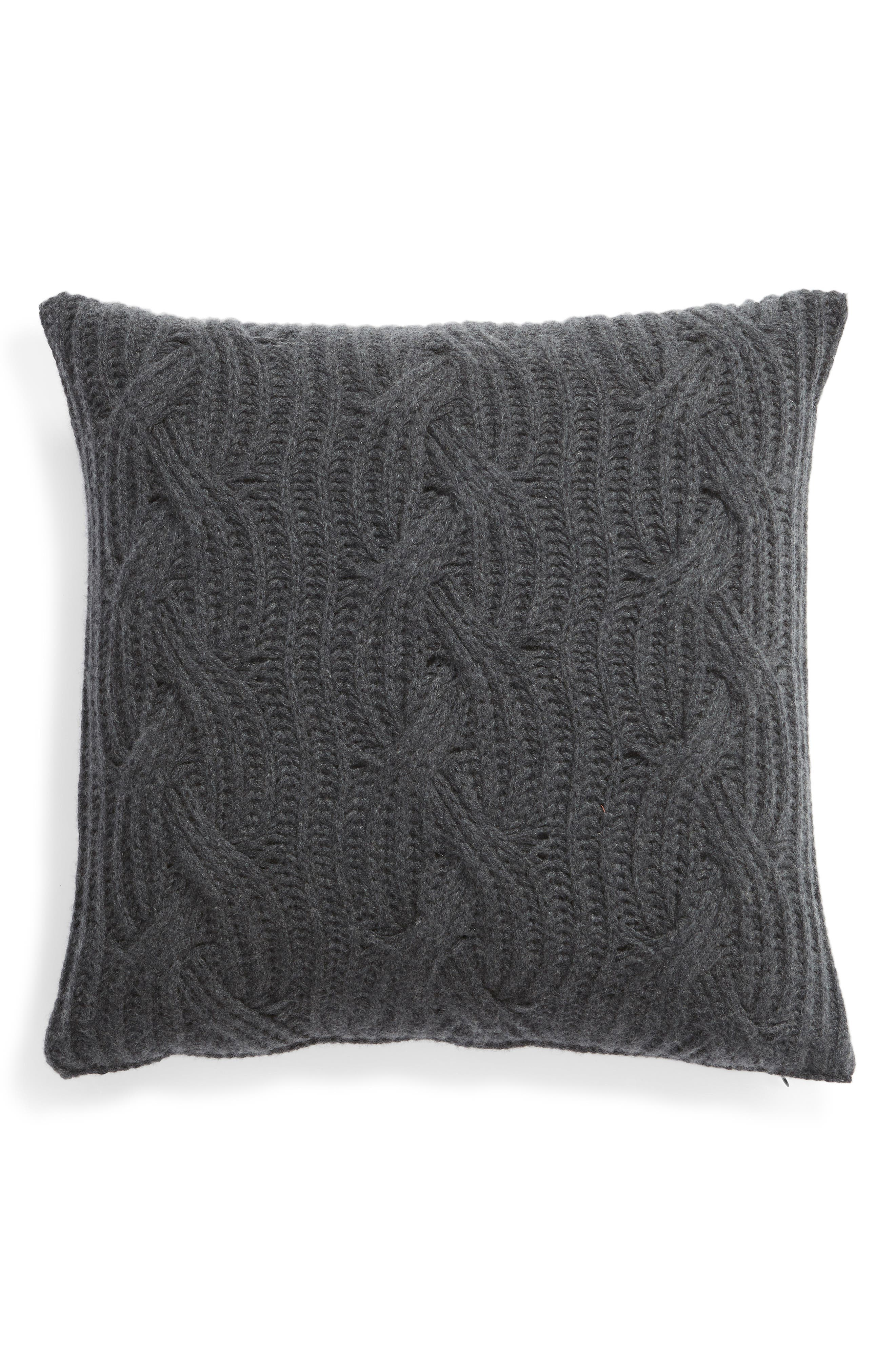 NORDSTROM SIGNATURE, Cable Knit Cashmere Accent Pillow, Main thumbnail 1, color, CHARCOAL HEATHER