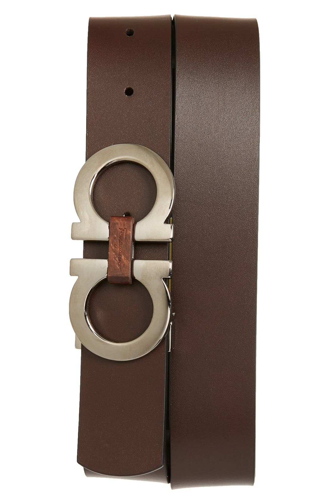 SALVATORE FERRAGAMO, Reversible Leather Belt, Alternate thumbnail 4, color, BLACK/ BROWN