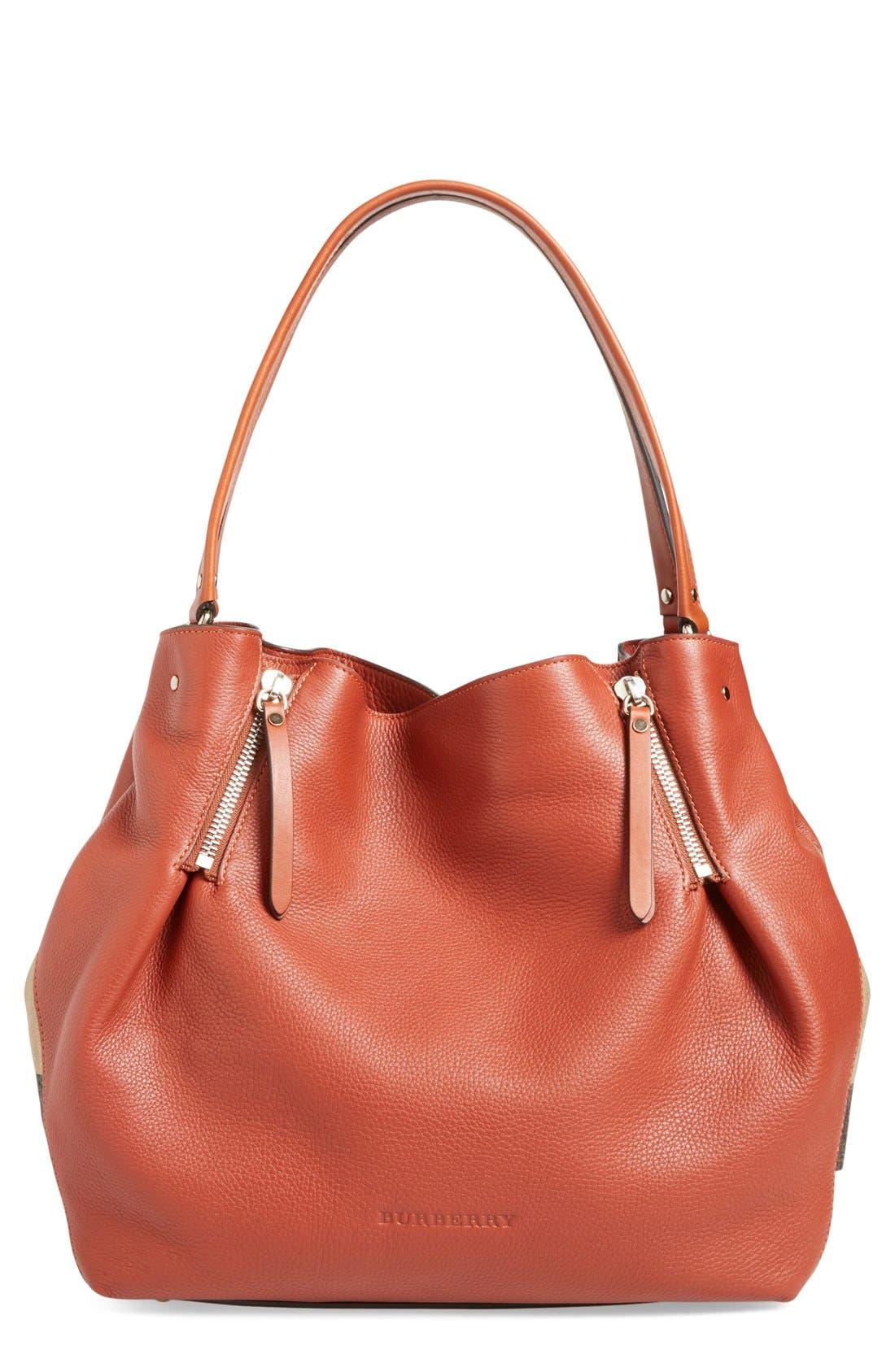 BURBERRY, 'Medium Maidstone' Leather Tote, Main thumbnail 1, color, 200