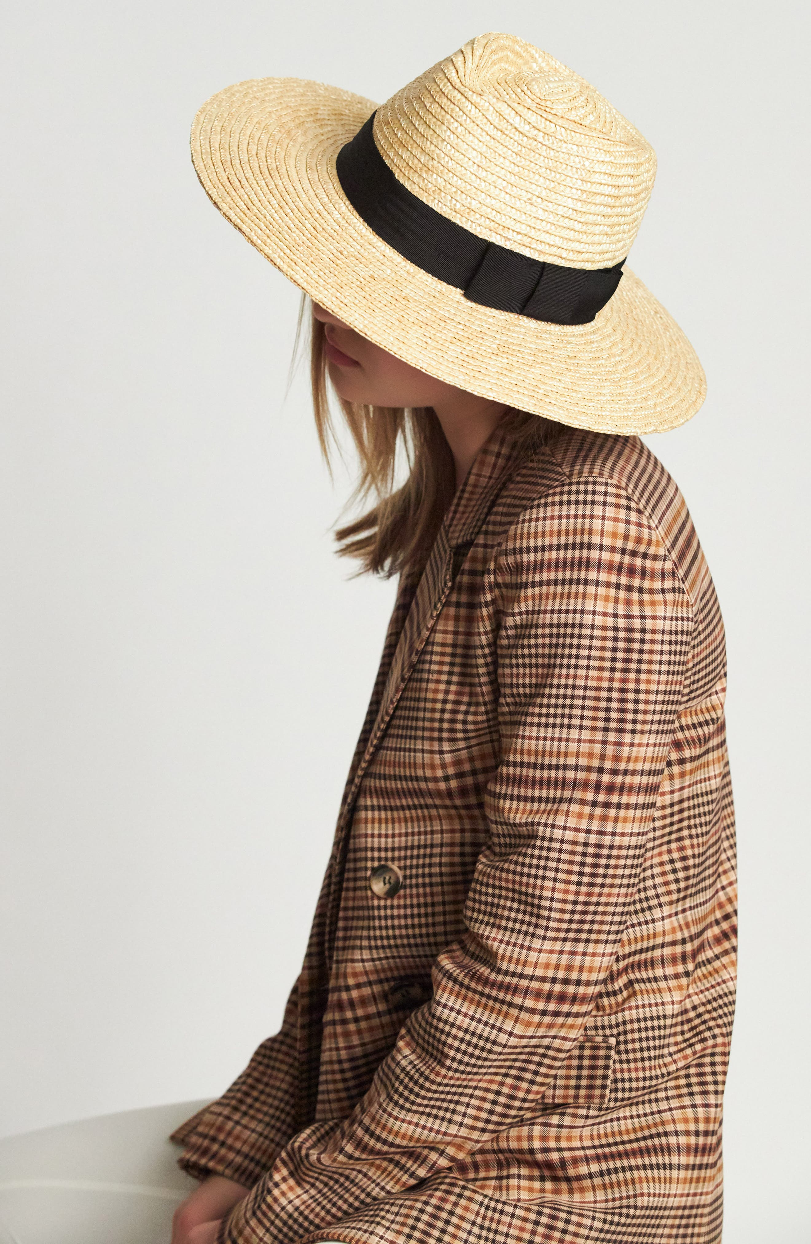 BRIXTON, 'Joanna' Straw Hat, Alternate thumbnail 7, color, HONEY