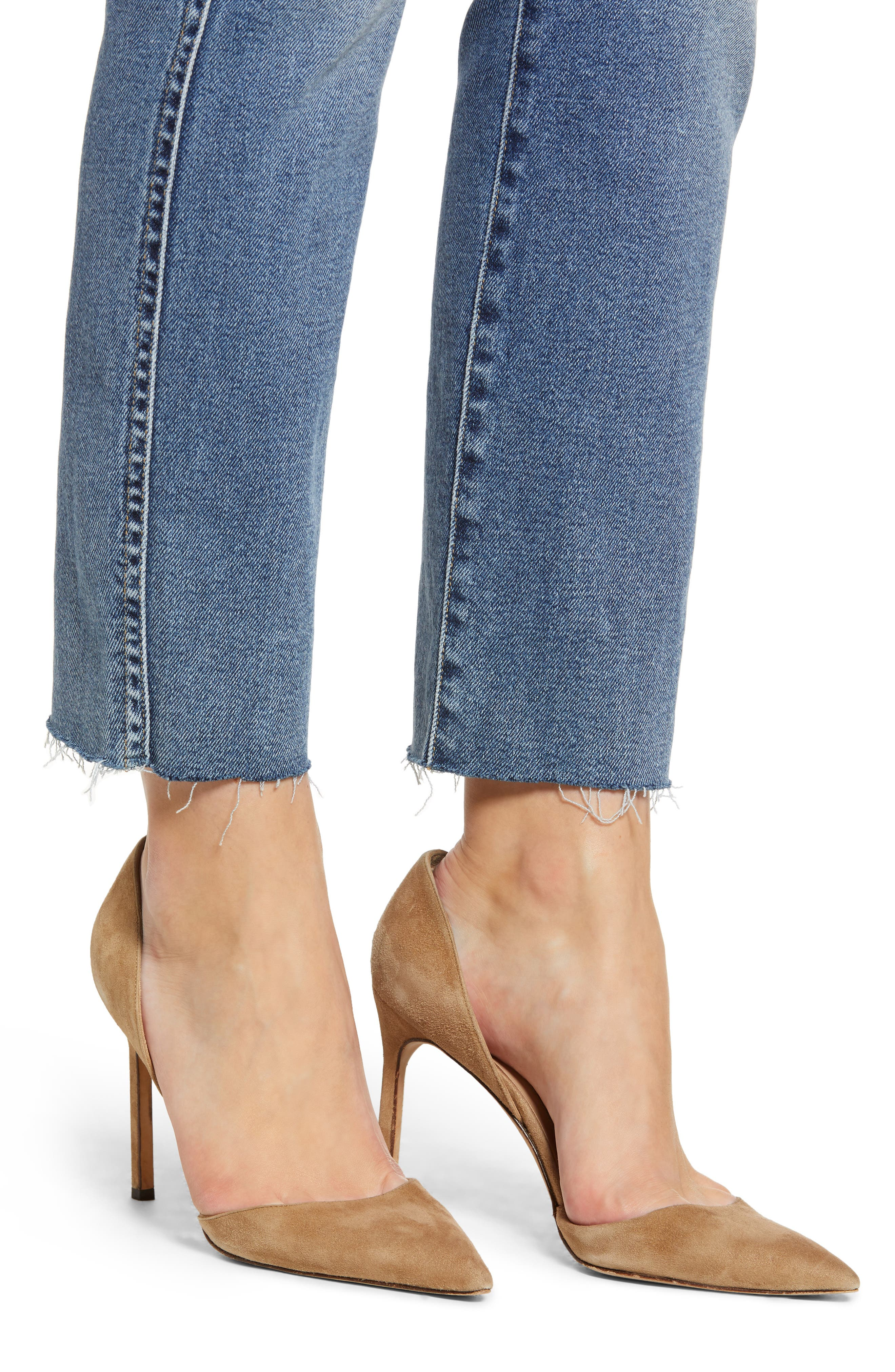 7 FOR ALL MANKIND<SUP>®</SUP>, Luxe Vintage Edie Cutoff Hem Straight Leg Jeans, Alternate thumbnail 5, color, LUXE VINTAGE MUSE