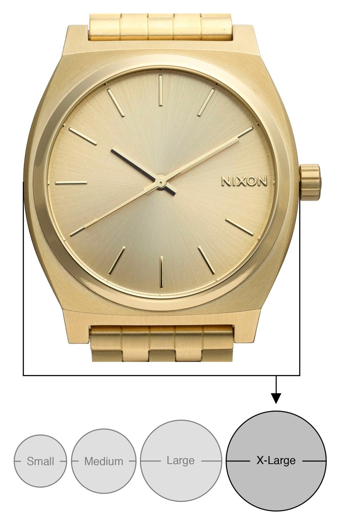 NIXON, 'The Time Teller' Watch, 37mm, Alternate thumbnail 6, color, GOLD