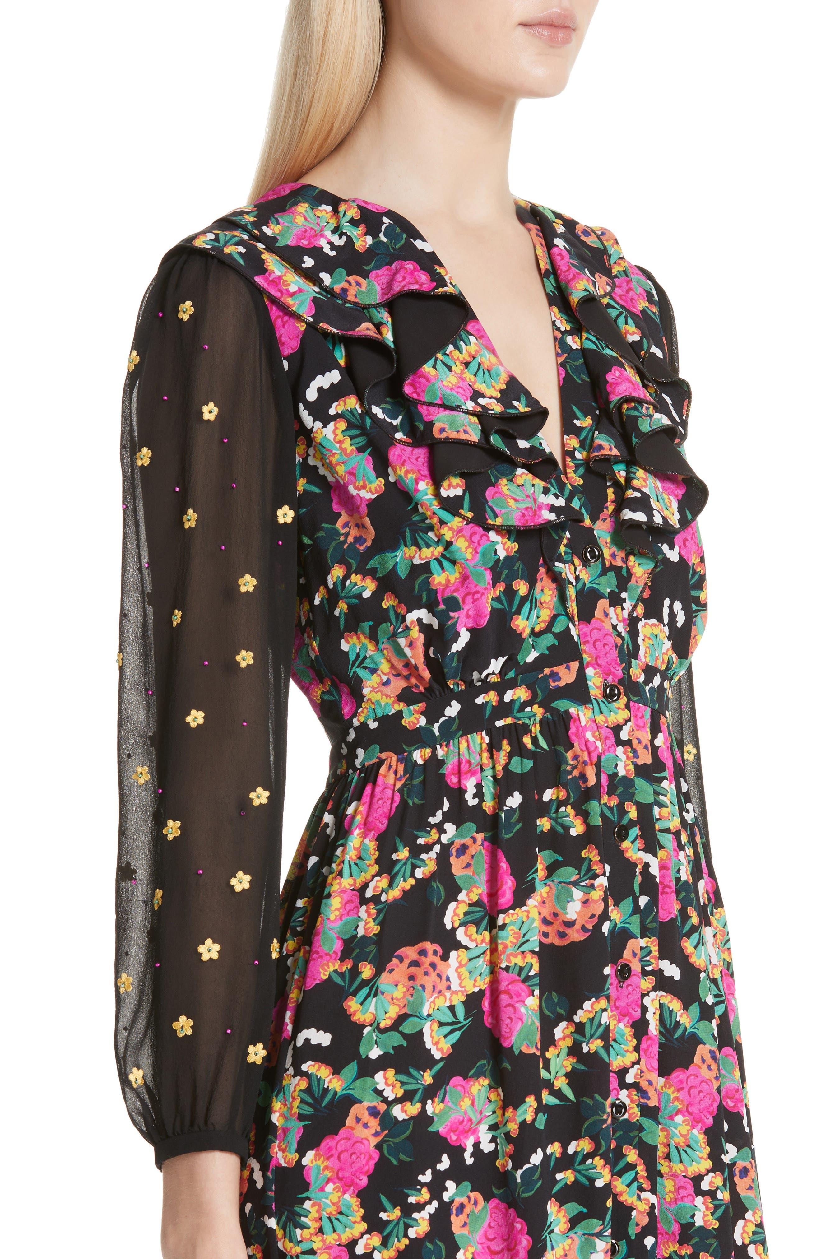 SALONI, Ginny Silk Midi Dress, Alternate thumbnail 4, color, HYDRANGEA/ EMBELLISHMENT