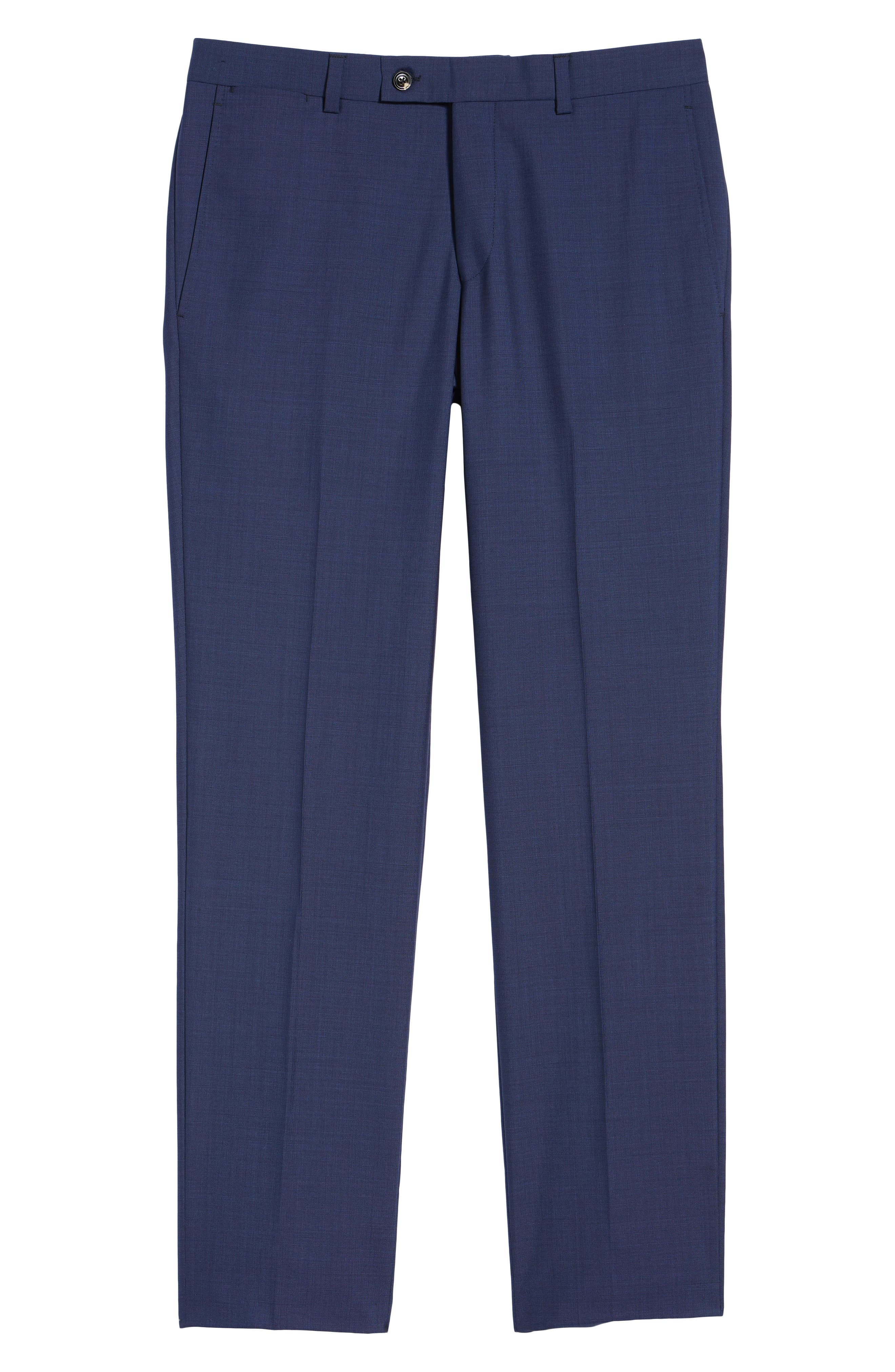 TED BAKER LONDON, Jefferson Flat Front Solid Wool Trousers, Alternate thumbnail 7, color, BLUE