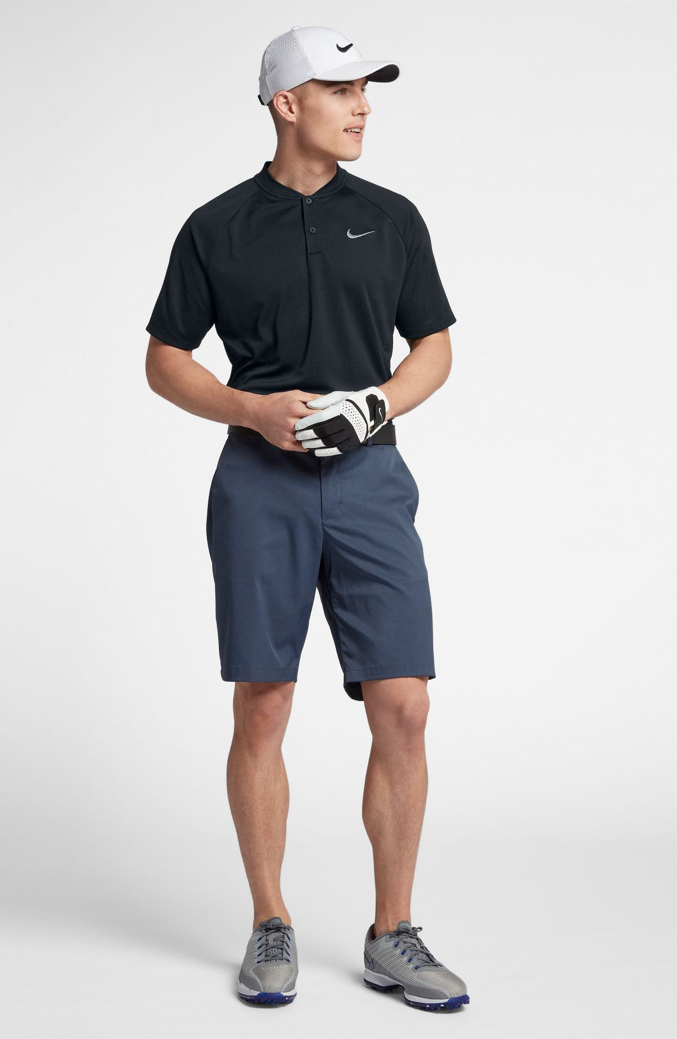 NIKE, Momentum Dri-FIT Golf Polo, Alternate thumbnail 8, color, BLACK/ BLACK/ GUNSMOKE