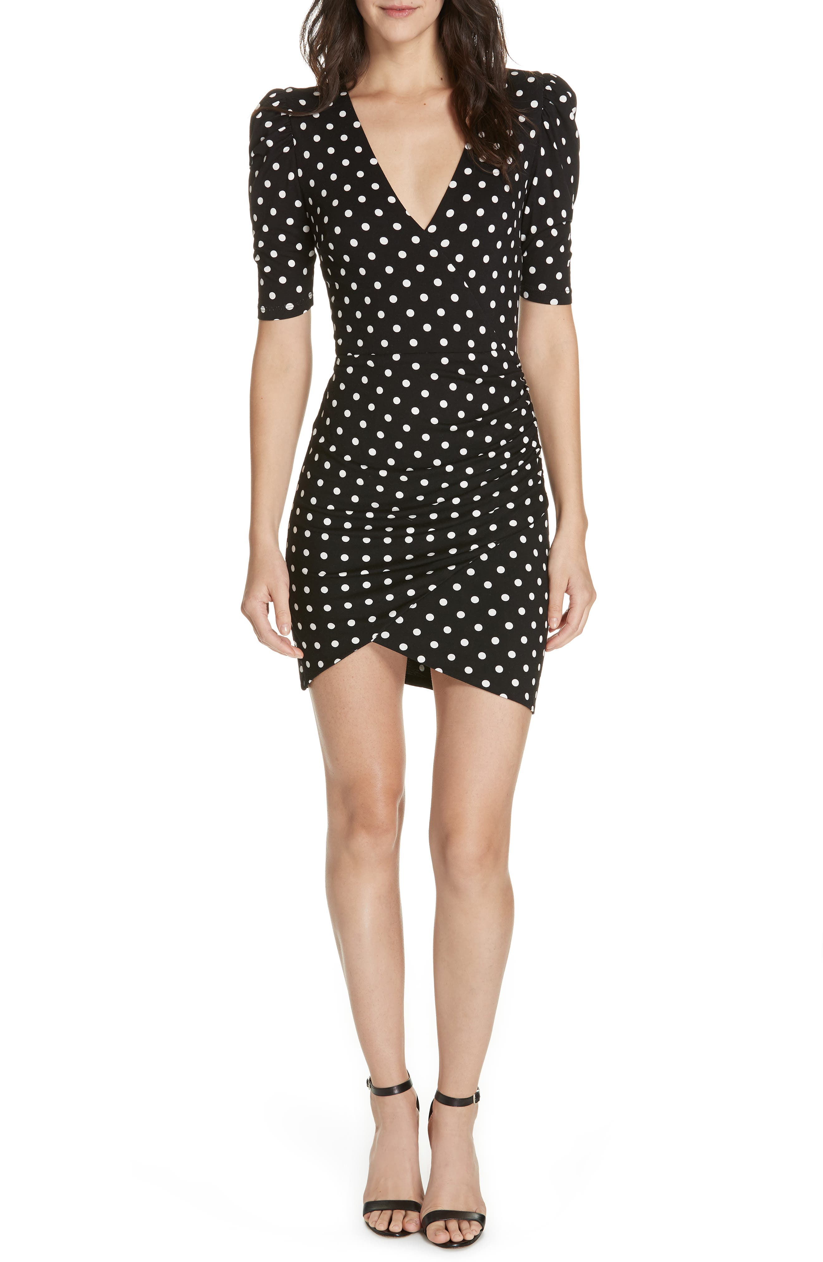 ALICE + OLIVIA, Judy Ruched Faux Wrap Dress, Main thumbnail 1, color, 001