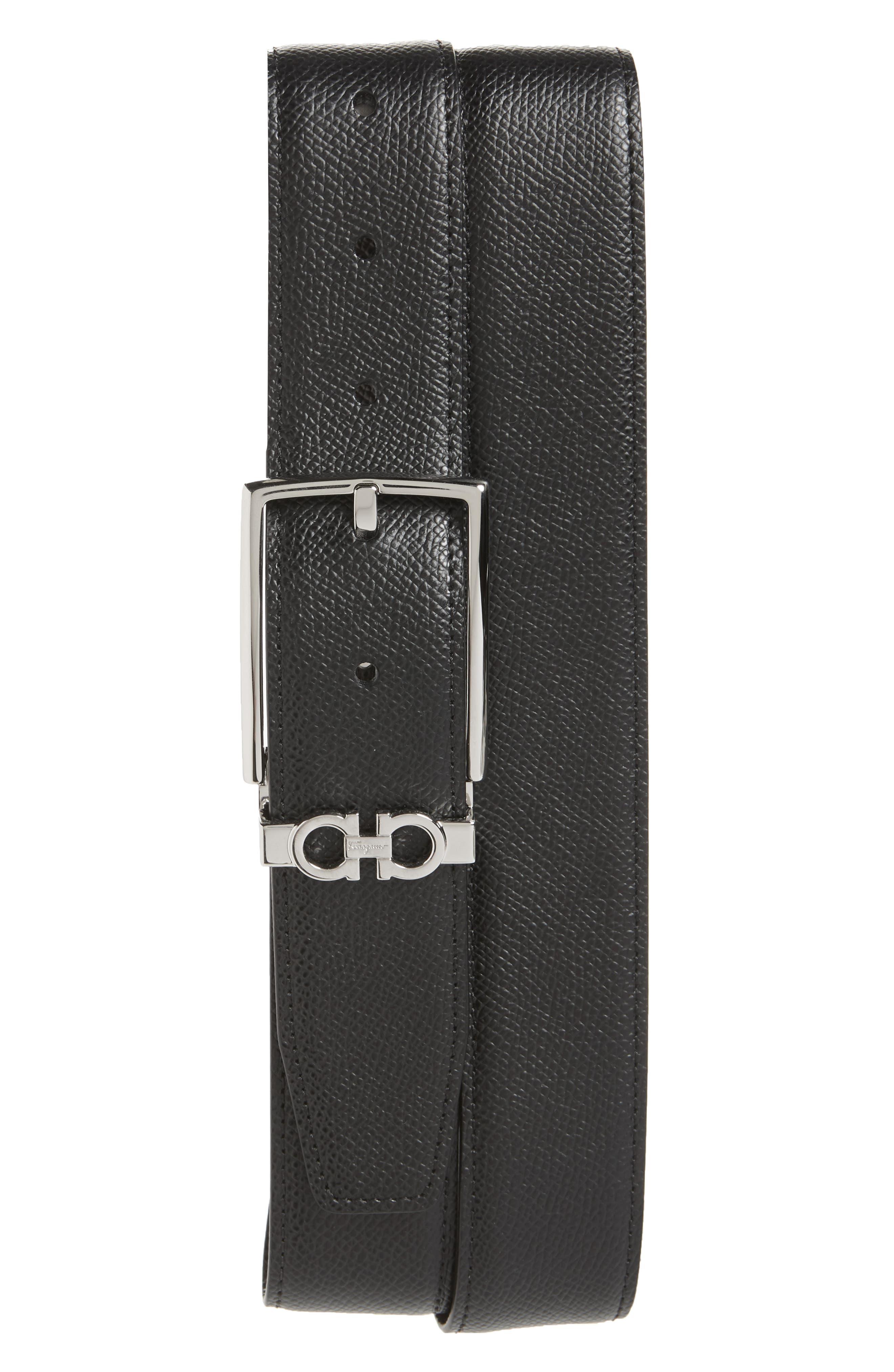 SALVATORE FERRAGAMO, Reversible Leather Belt, Main thumbnail 1, color, NERO / T.MORO