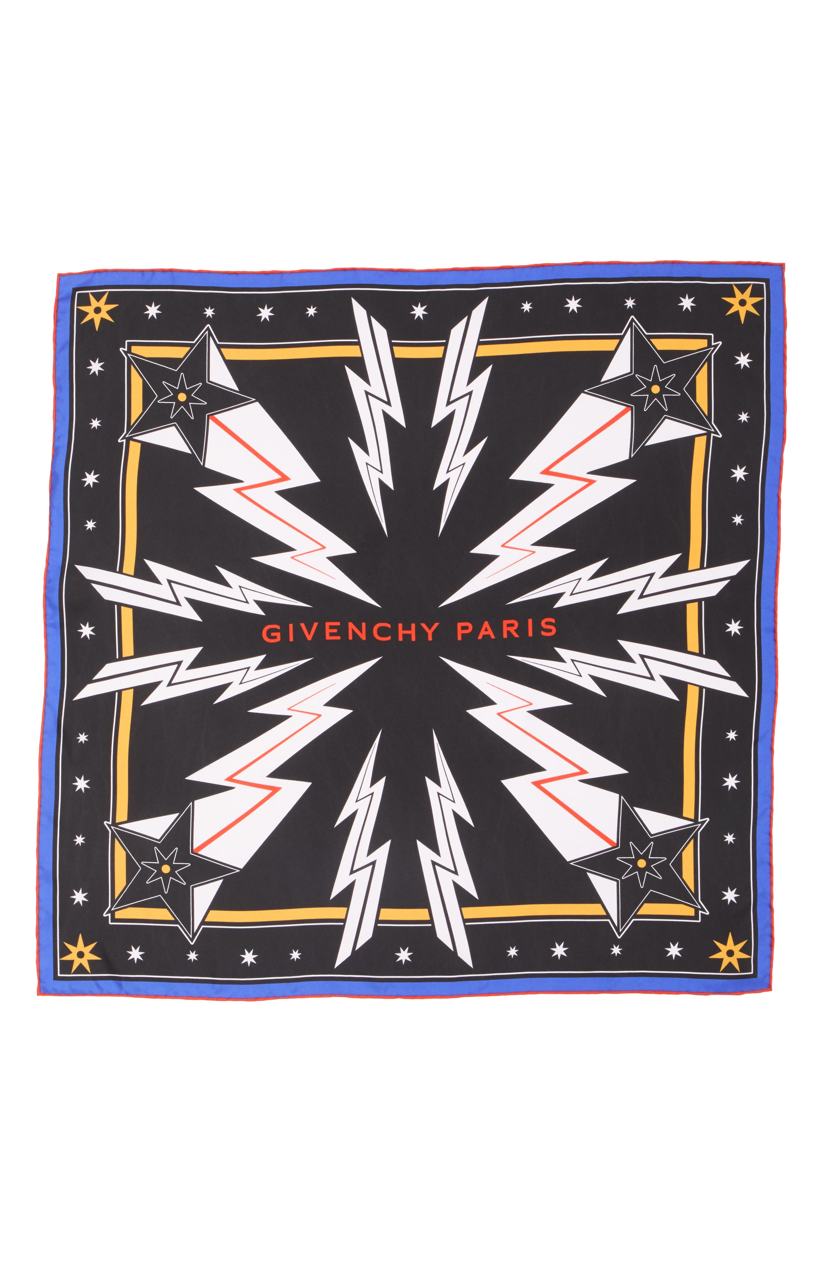 GIVENCHY, Iconic Flash Silk Twill Scarf, Main thumbnail 1, color, BLACK