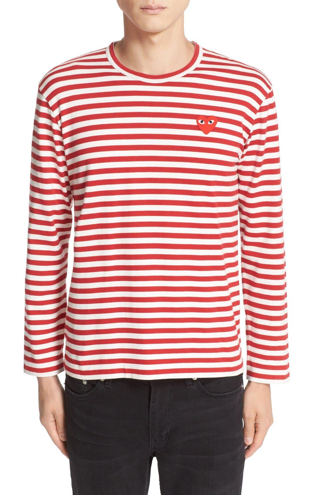 COMME DES GARÇONS PLAY, Stripe Long Sleeve T-Shirt, Main thumbnail 1, color, RED/ WHITE