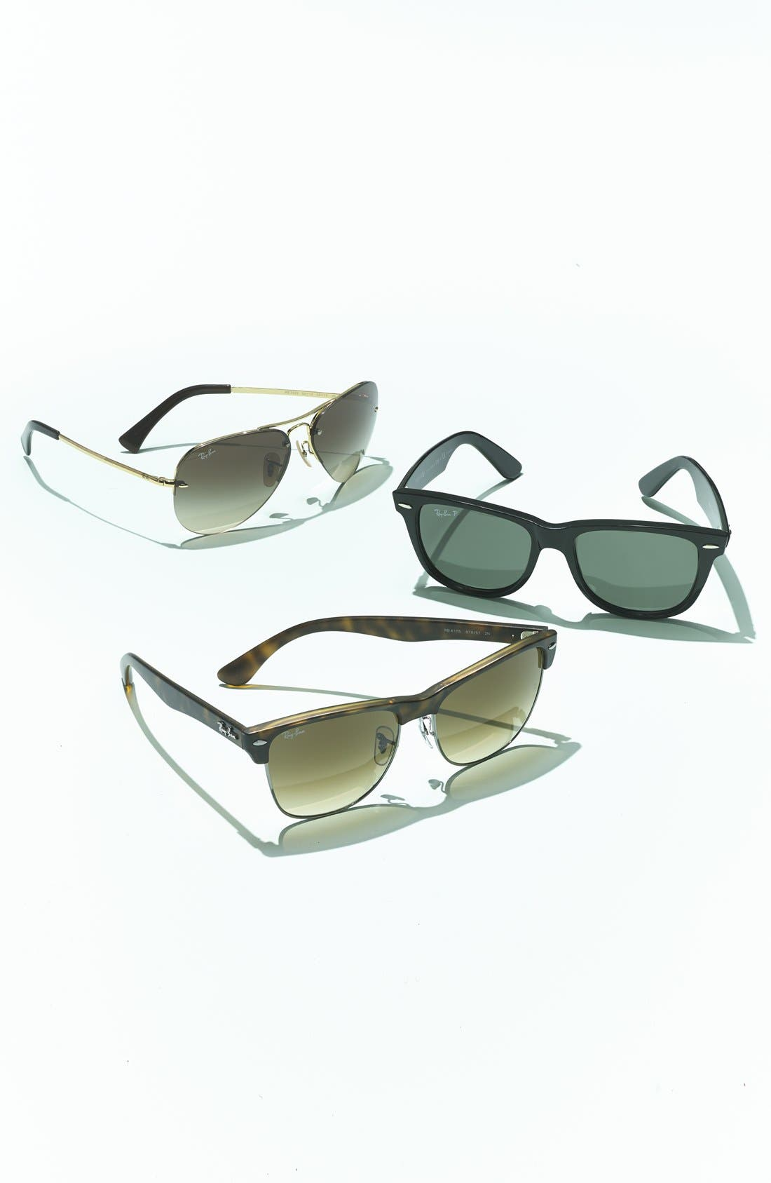 RAY-BAN, Highstreet 59mm Semi Rimless Aviator Sunglasses, Alternate thumbnail 4, color, SILVER/ BORDEAUX GRADIENT