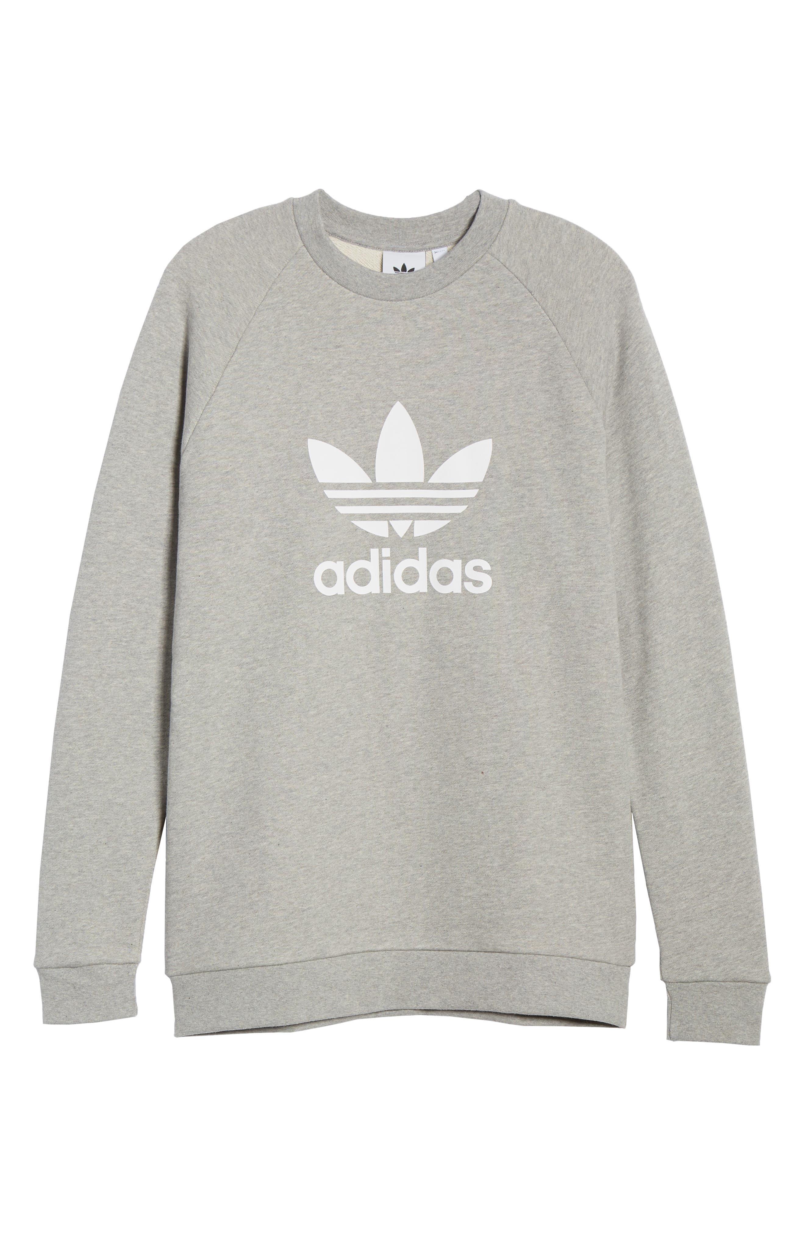 ADIDAS ORIGINALS, adidas Trefoil Crewneck Sweatshirt, Alternate thumbnail 5, color, MEDIUM GREY HEATHER