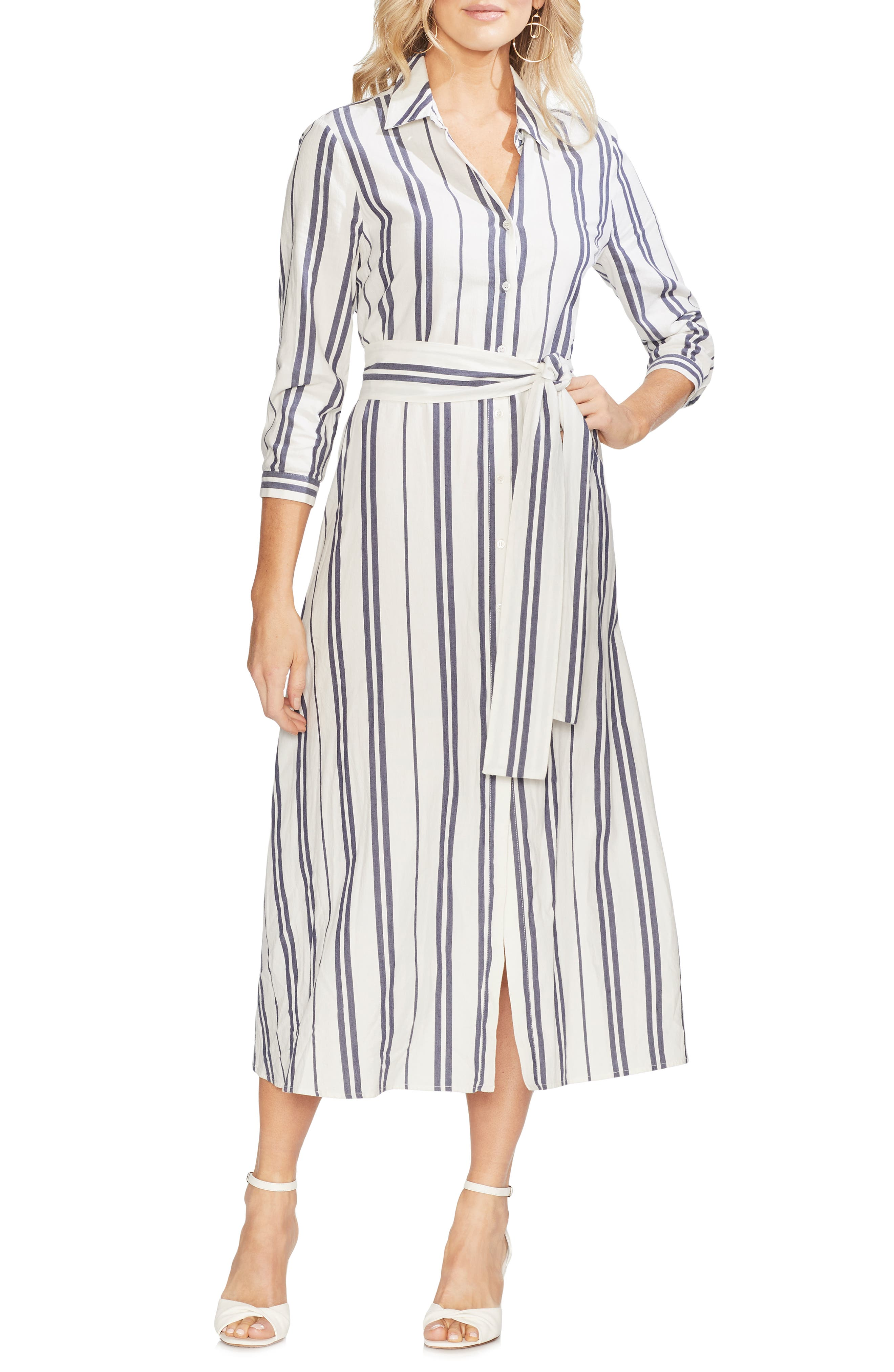 VINCE CAMUTO, Valiant Stripe Midi Shirtdress, Main thumbnail 1, color, PEARL IVORY