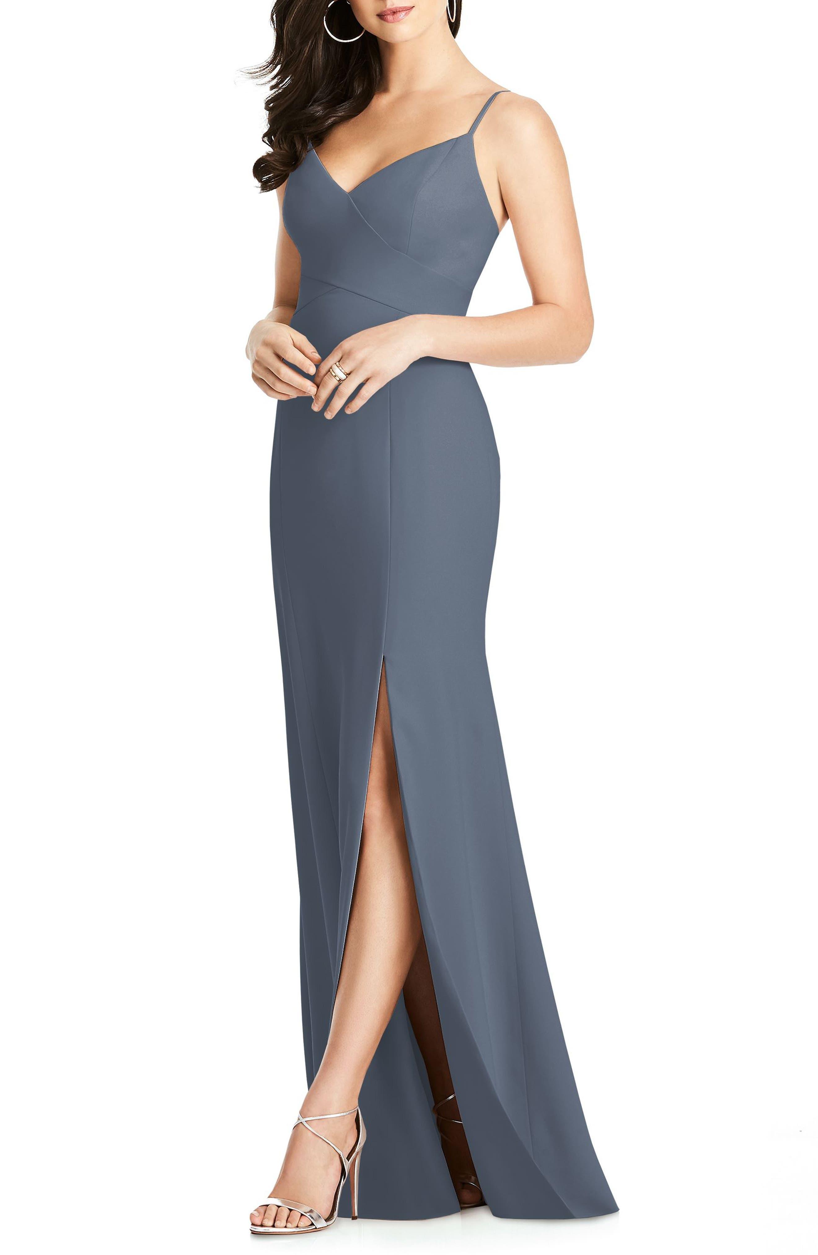 DESSY COLLECTION Crisscross Seam Crepe Gown, Main, color, SILVERSTONE
