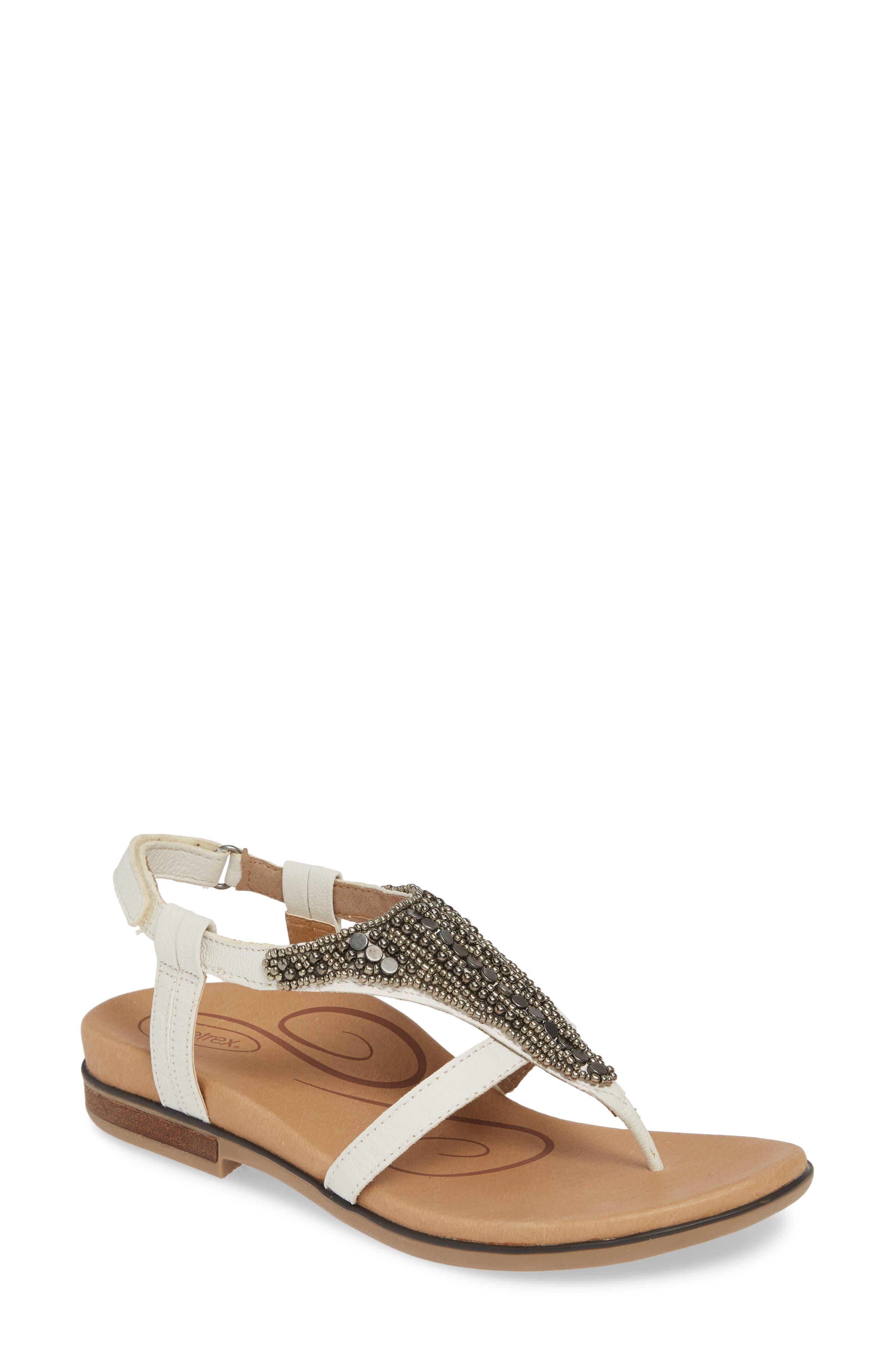 AETREX, Sheila Embellished Sandal, Main thumbnail 1, color, WHITE LEATHER