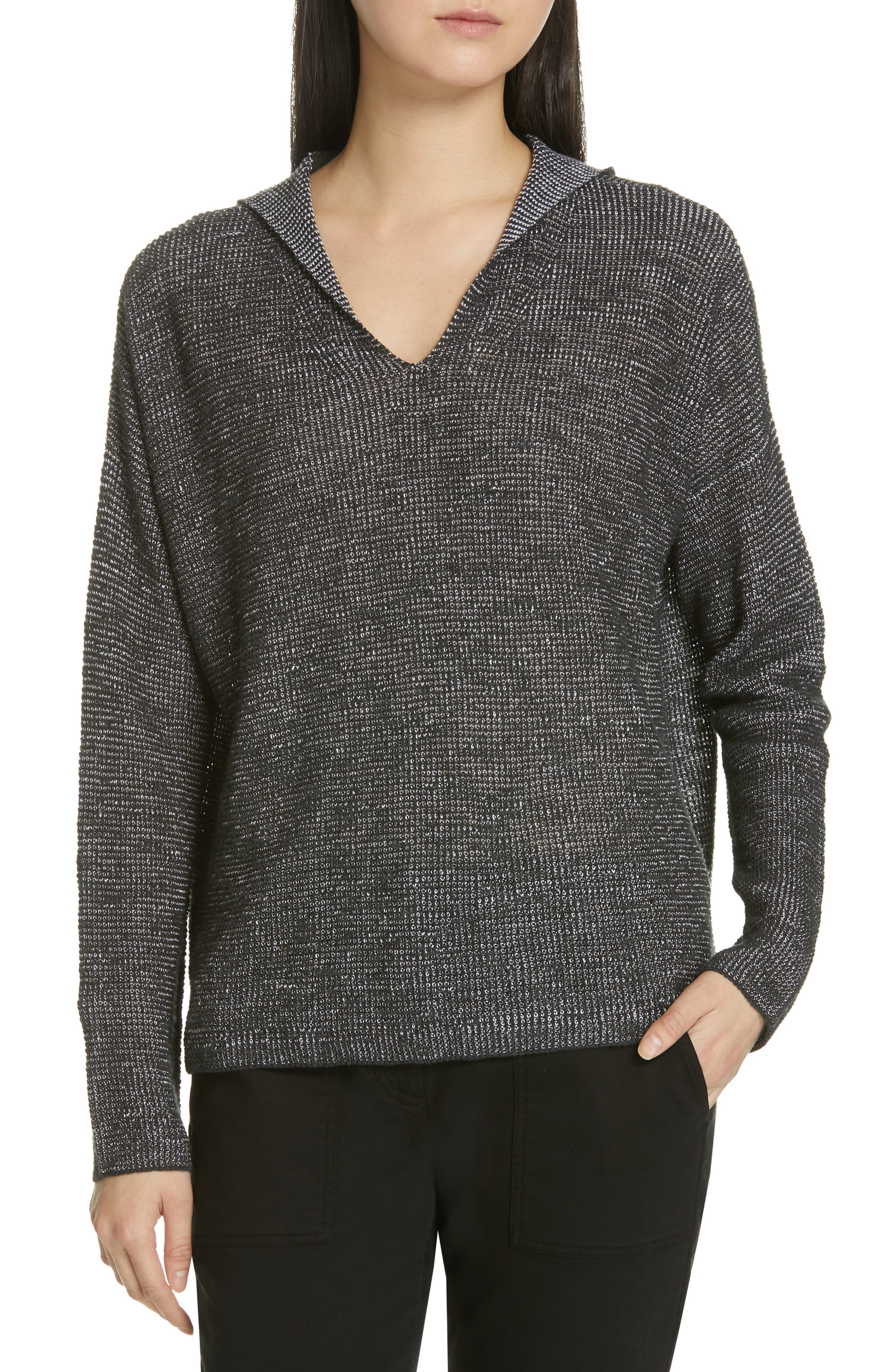 EILEEN FISHER, Organic Linen & Cotton Boxy Hooded Top, Main thumbnail 1, color, CHARCOAL