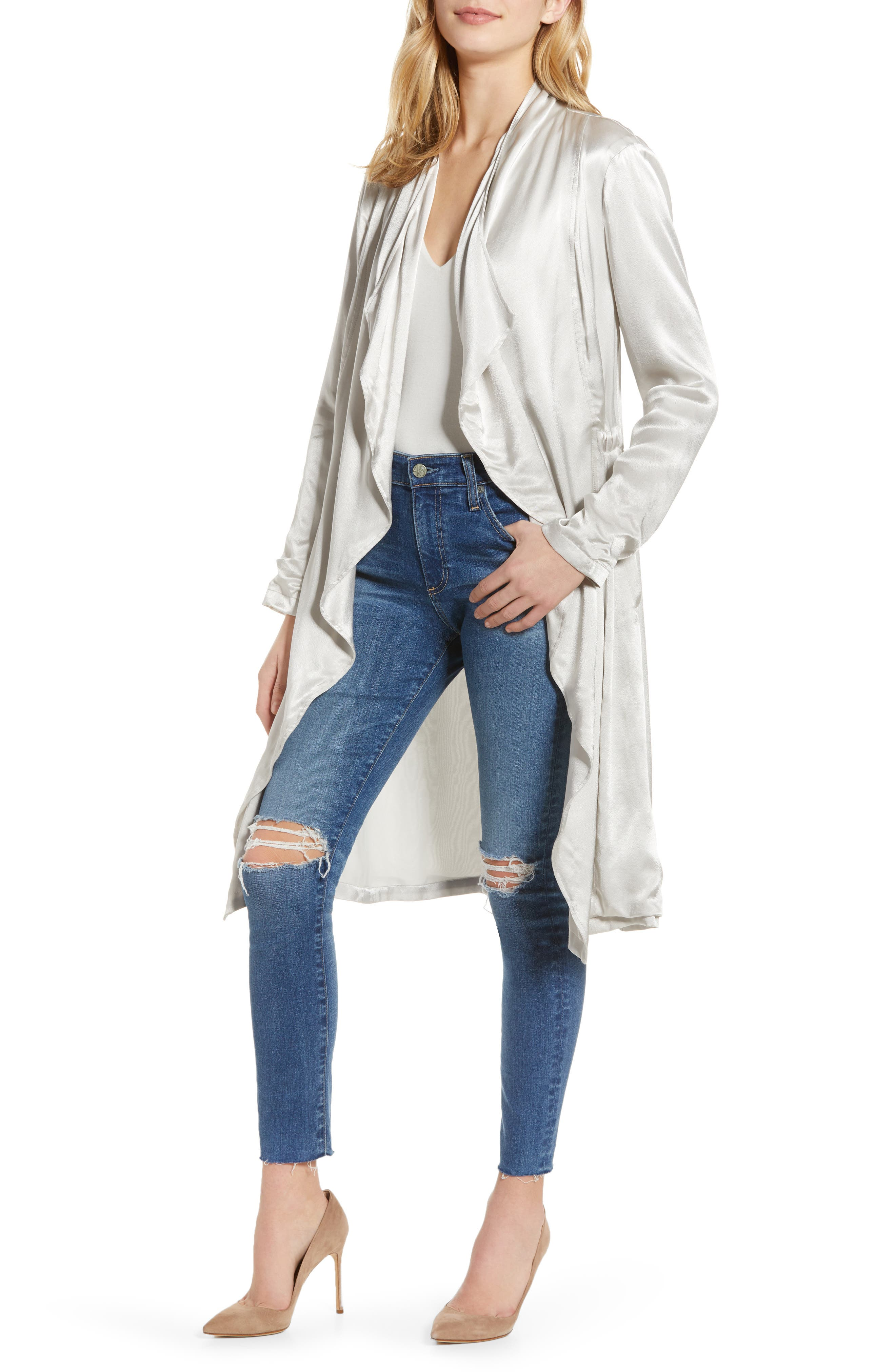CUPCAKES AND CASHMERE, Drape Front Satin Trench Coat, Main thumbnail 1, color, 900