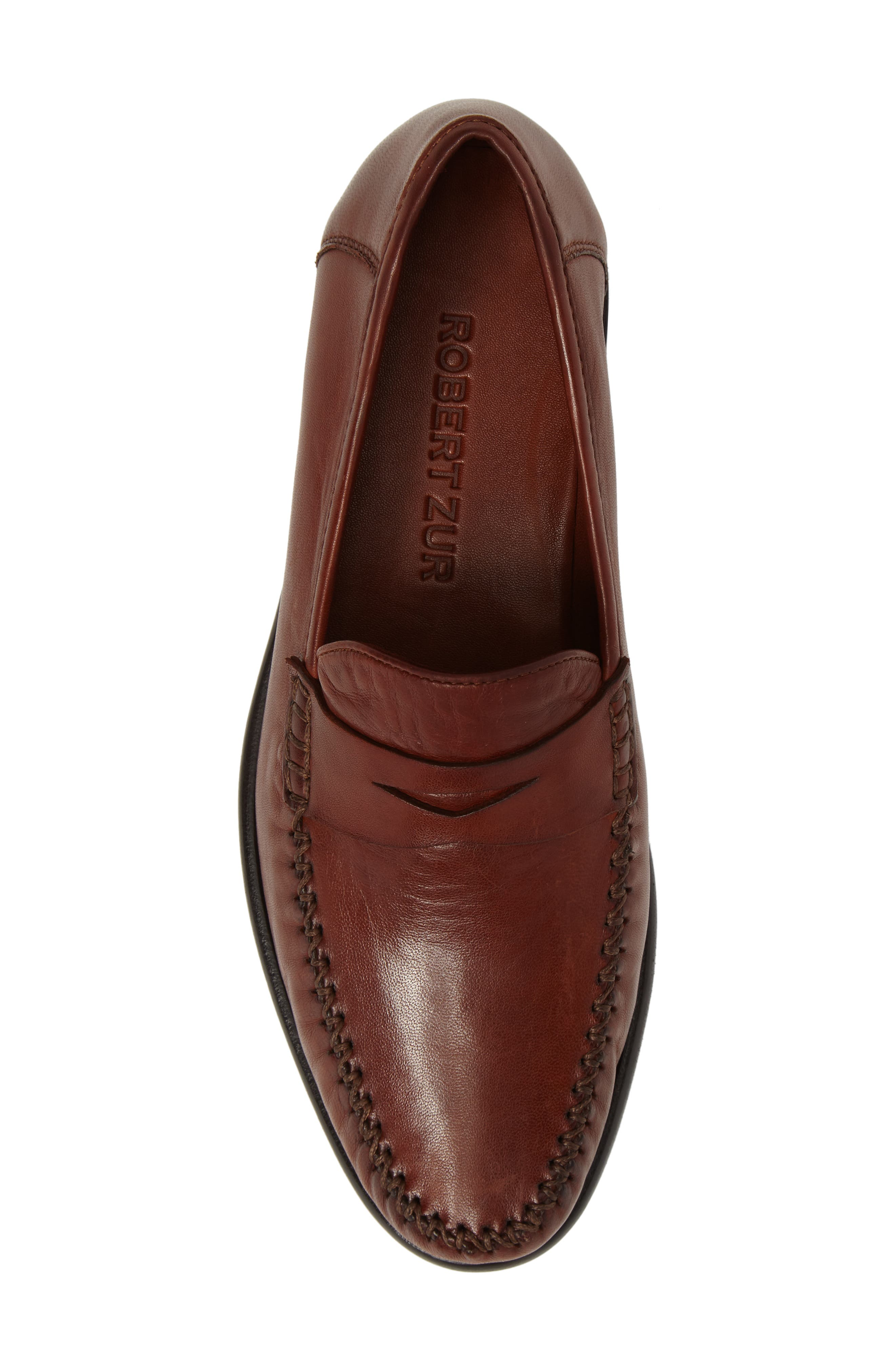 ROBERT ZUR, Penny Loafer, Alternate thumbnail 5, color, DARK LUGGAGE LEATHER