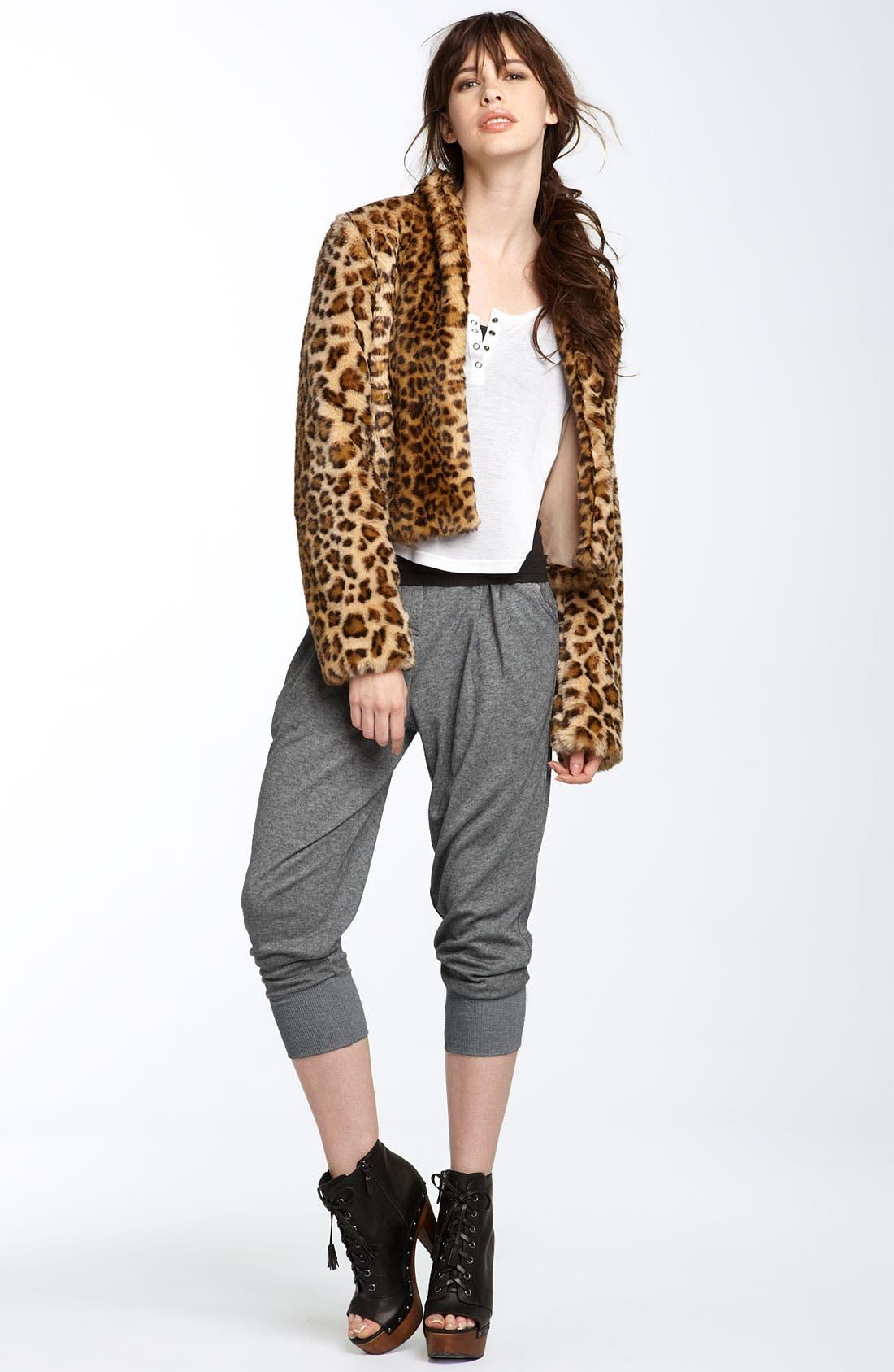 TROUVÉ, Leopard Print Faux Fur Jacket, Alternate thumbnail 2, color, 200