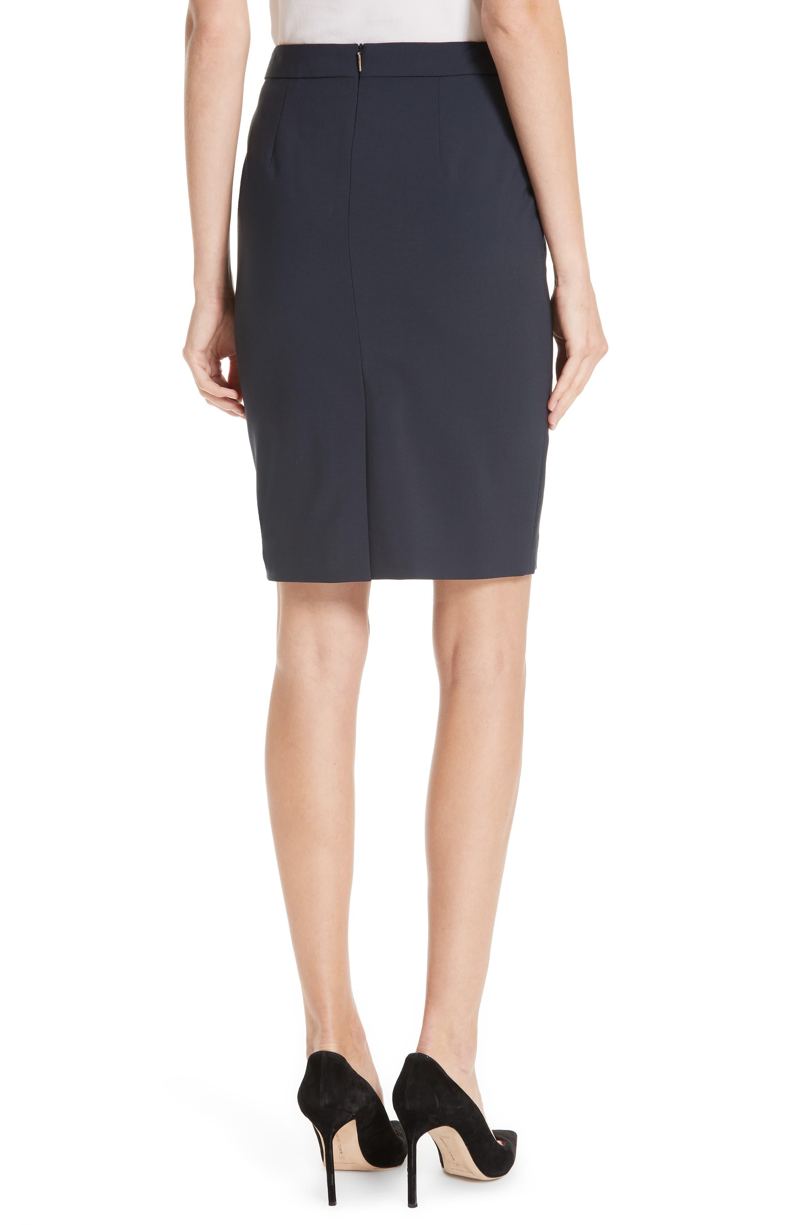 BOSS, Vilea Tropical Stretch Wool Pencil Skirt, Alternate thumbnail 2, color, NAVY