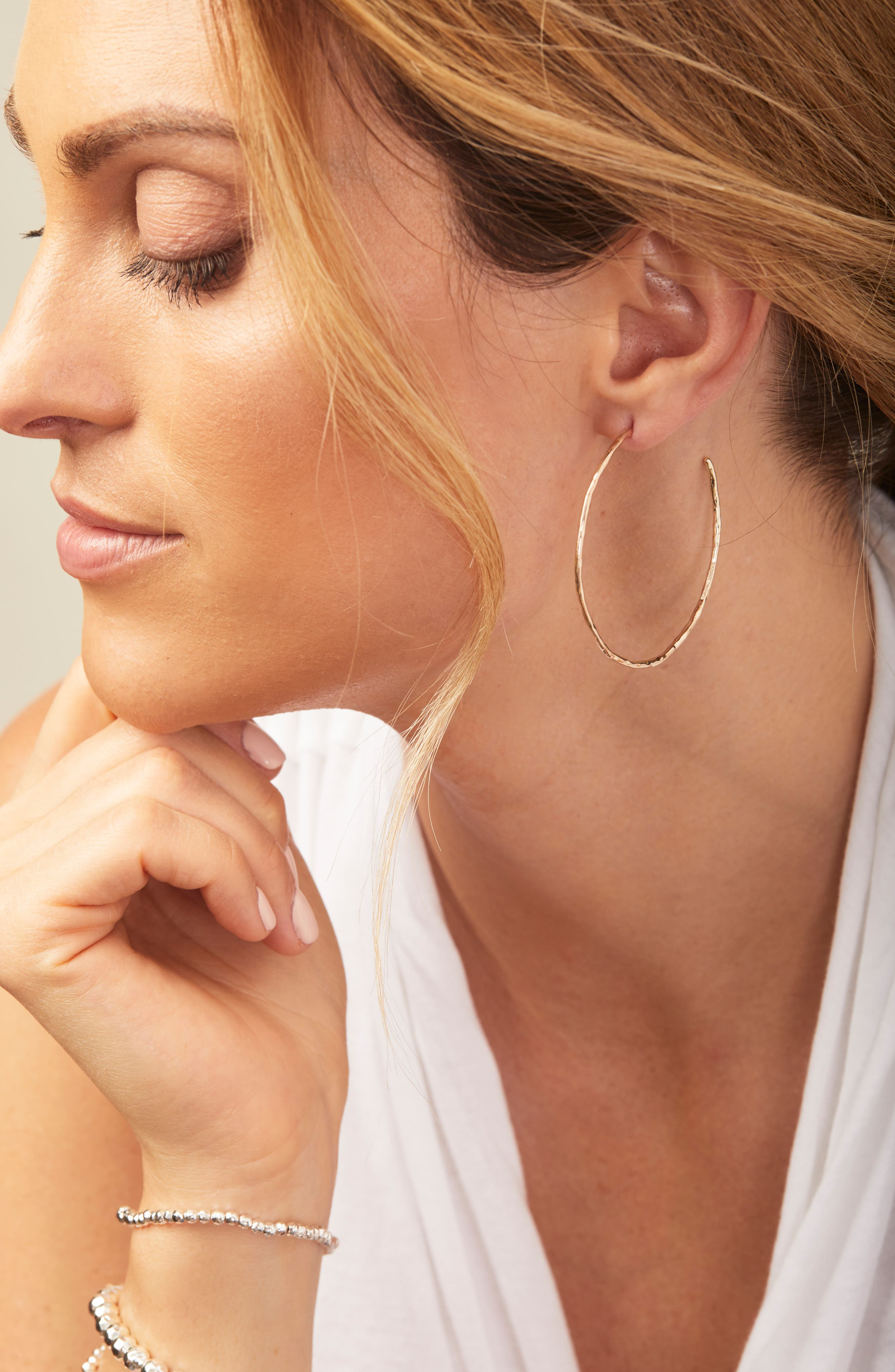 GORJANA, Taner Hoop Earrings, Alternate thumbnail 3, color, SILVER