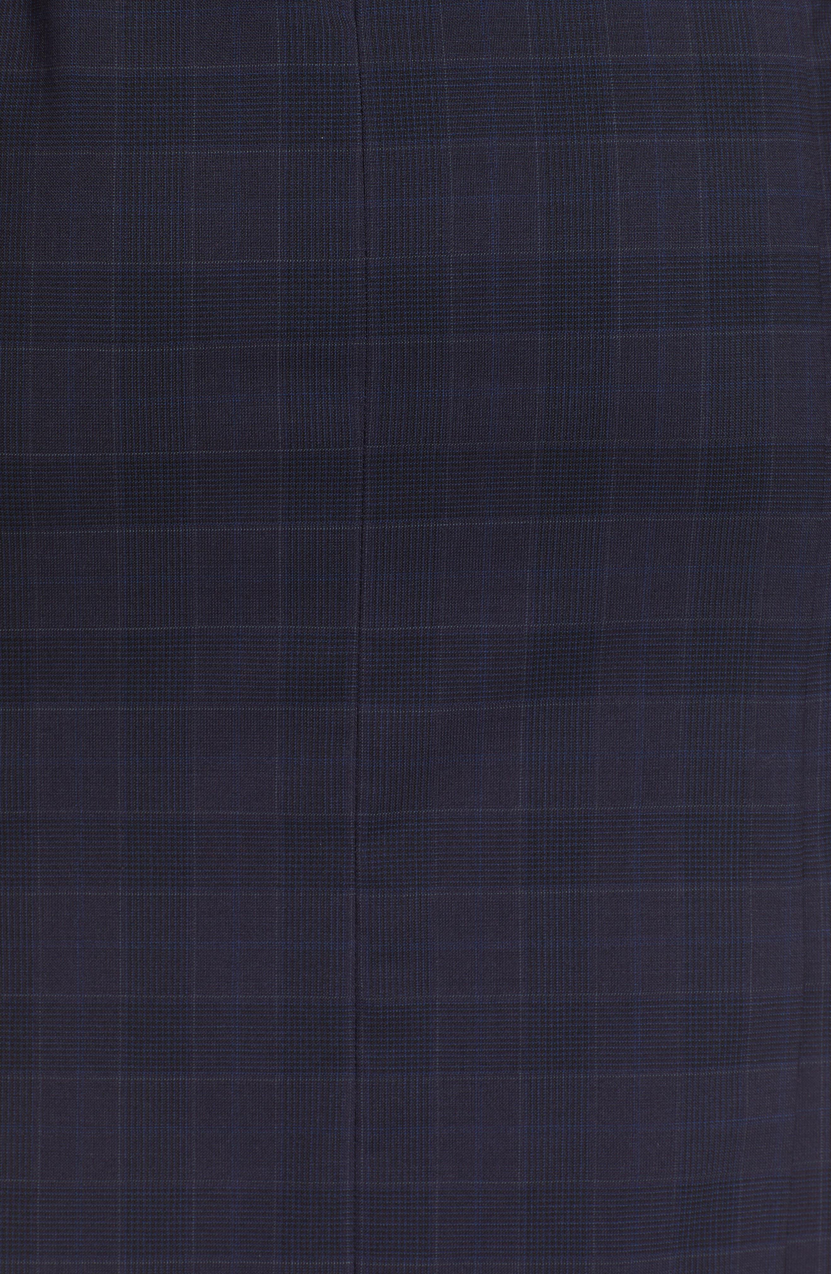 BOSS, Docanes Modern Check Wool Dress, Alternate thumbnail 6, color, DARK NAVY FANTASY