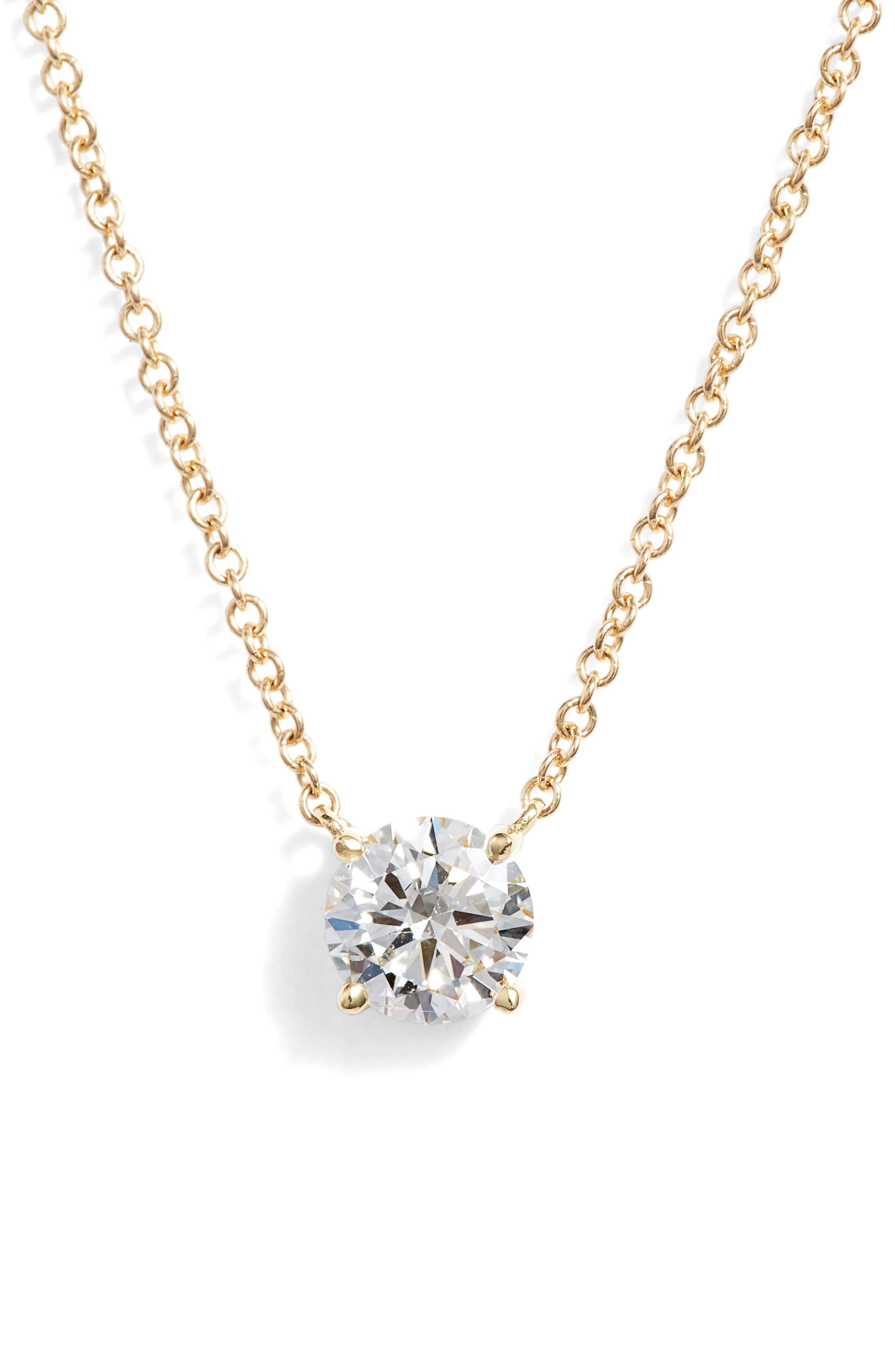 BONY LEVY, Liora Large Solitaire Diamond Pendant, Main thumbnail 1, color, YELLOW GOLD