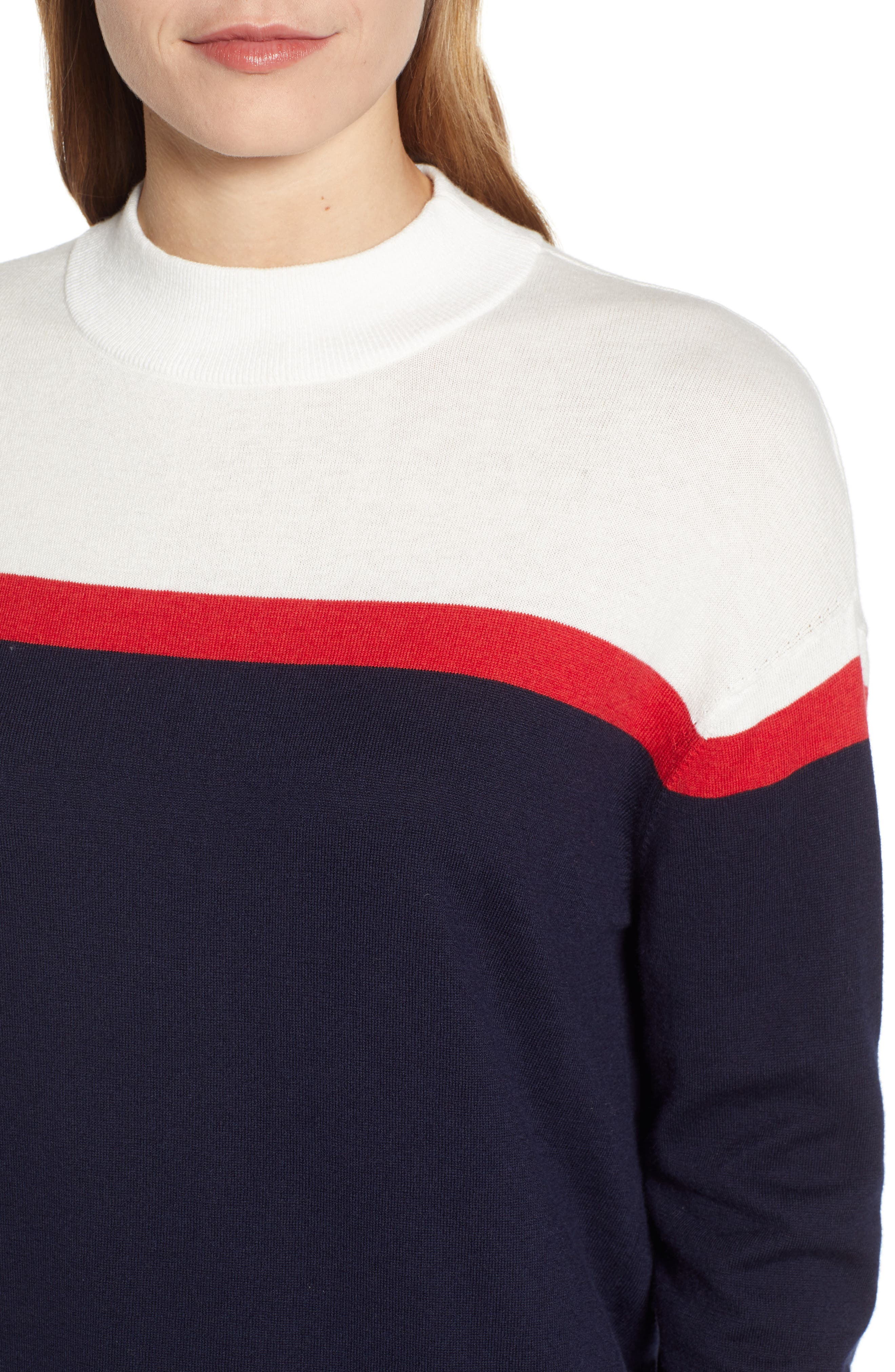 VELVET BY GRAHAM & SPENCER, Stripe Mock Neck Cotton & Cashmere Sweater, Alternate thumbnail 4, color, MULTI