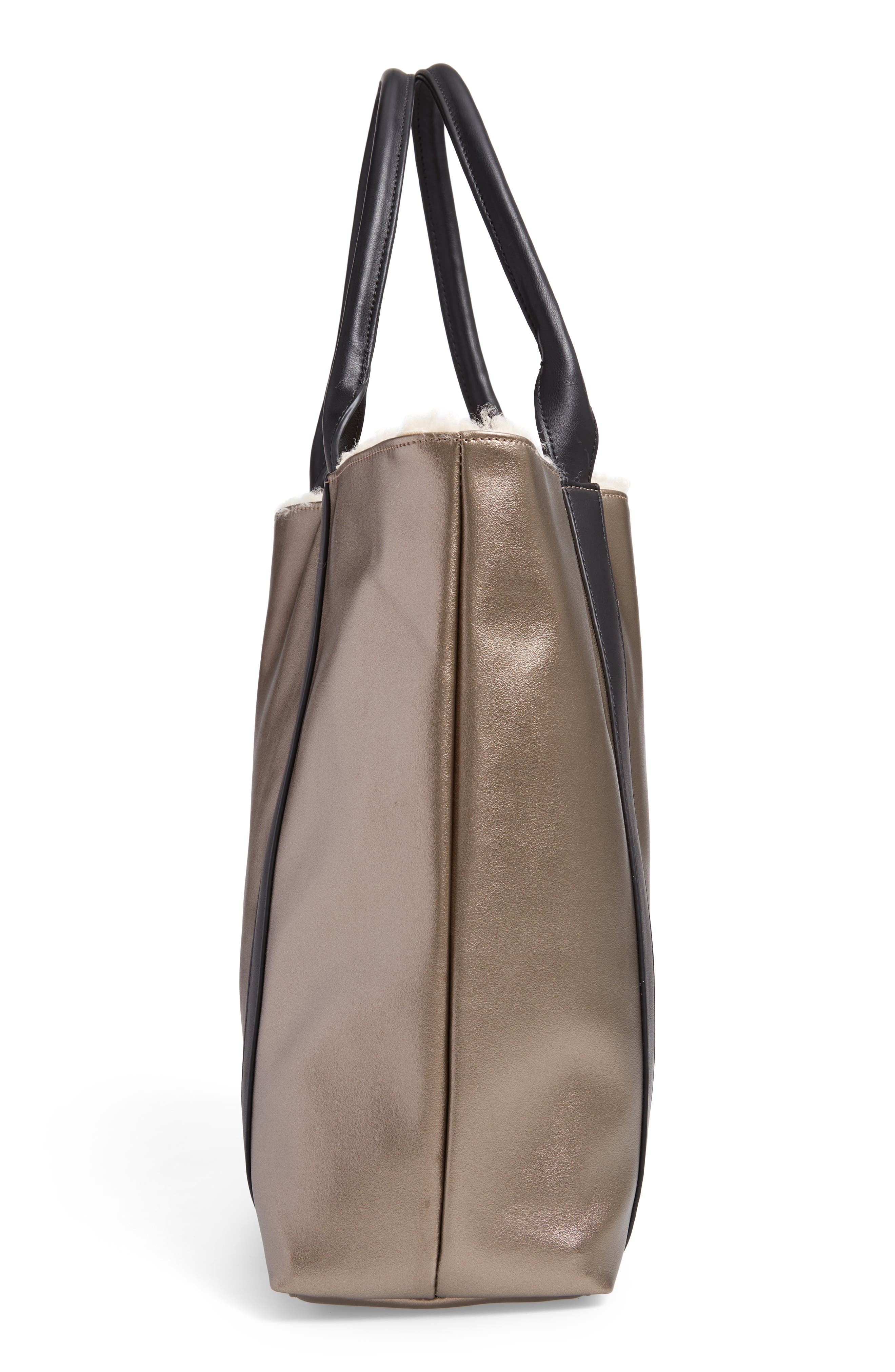SOLE SOCIETY, Drury Faux Shearling Reversible Tote, Alternate thumbnail 6, color, PEWTER COMBO