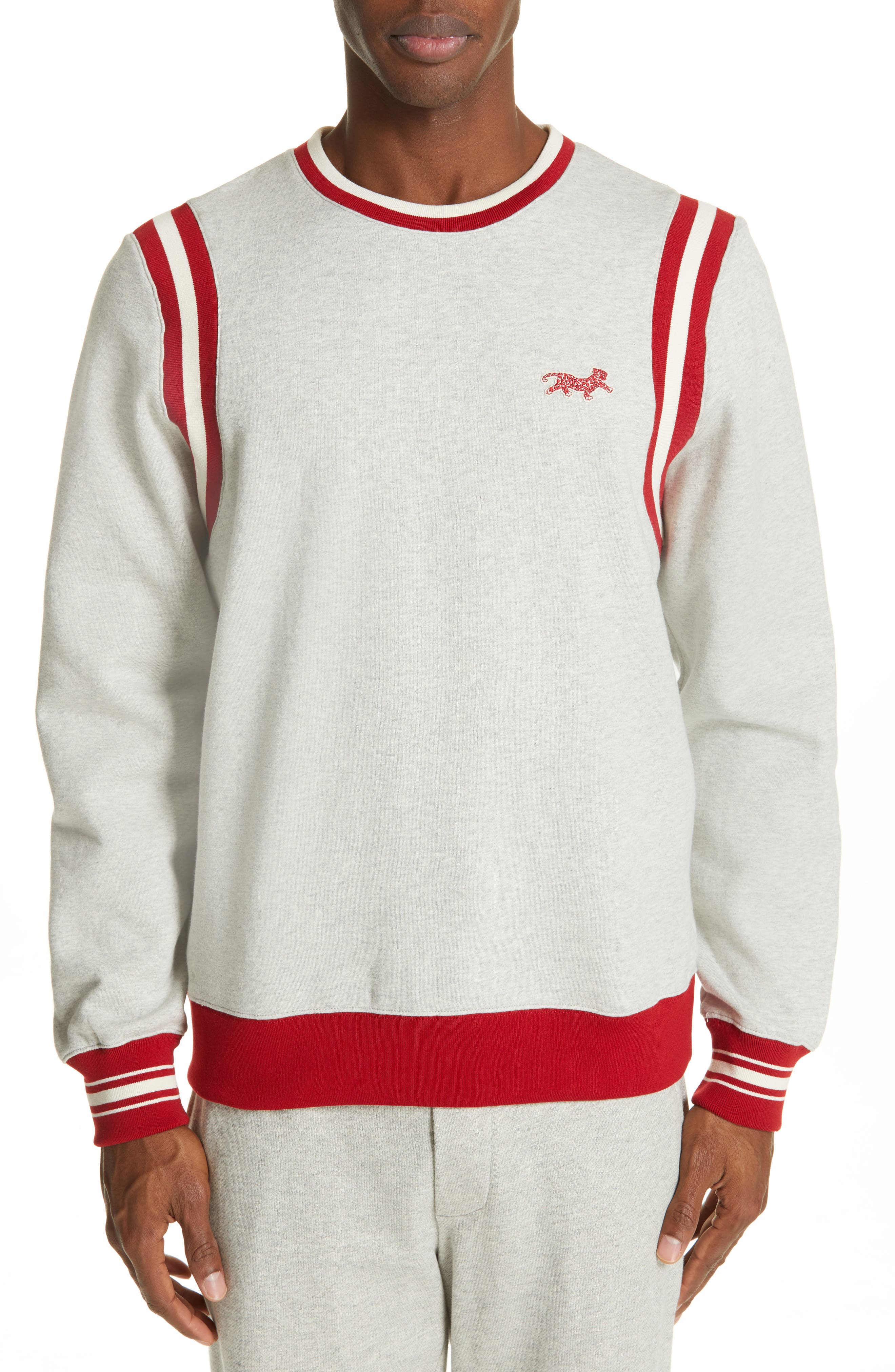 OVADIA & SONS, Varsity Sweatshirt, Main thumbnail 1, color, HEATHER GREY/RED
