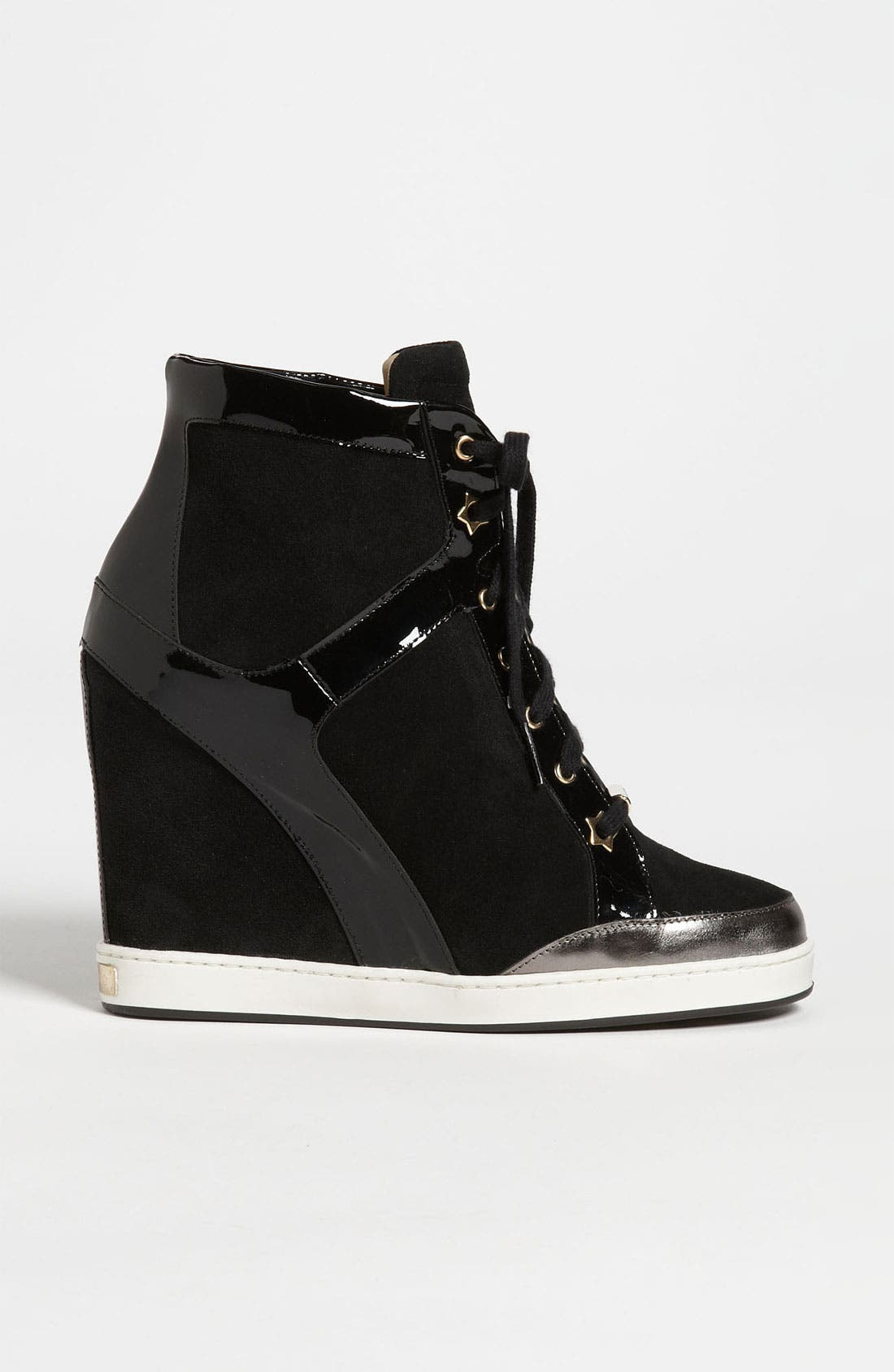 JIMMY CHOO, 'Panama' Wedge Sneaker, Alternate thumbnail 4, color, 001
