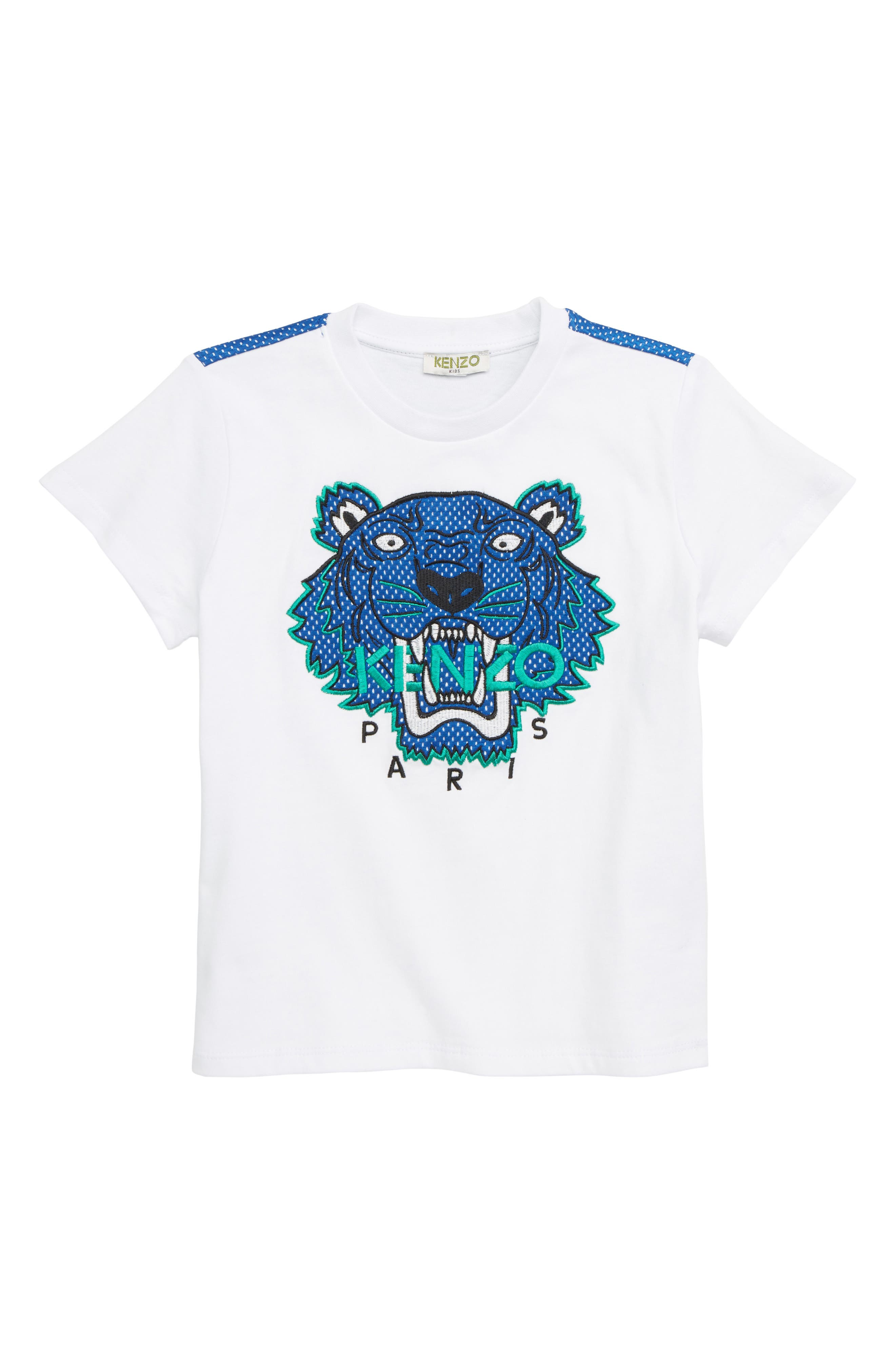 KENZO, Embroidered Tiger T-Shirt, Main thumbnail 1, color, WHITE