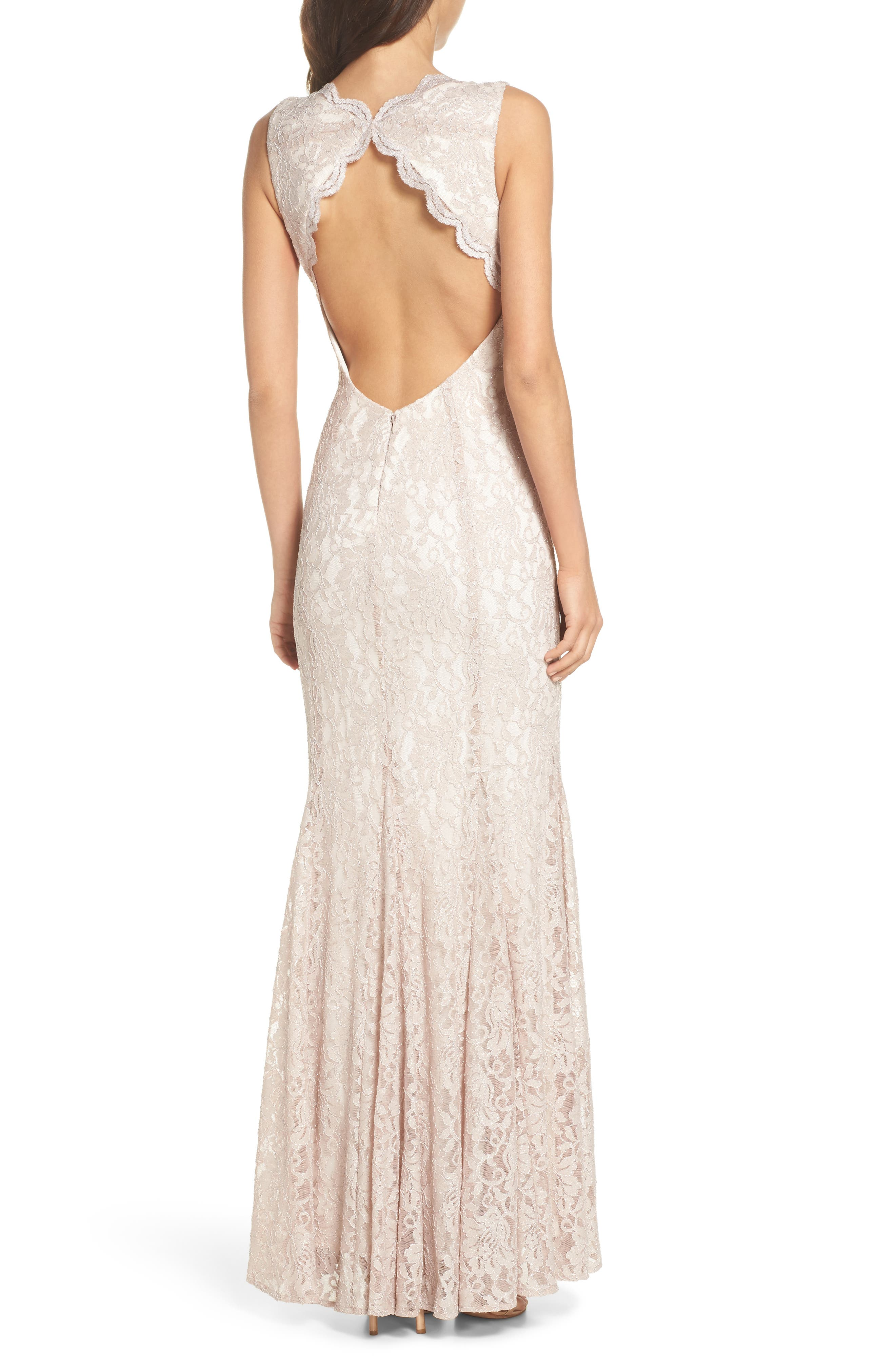 MORGAN & CO., Glitter Lace Trumpet Dress, Alternate thumbnail 2, color, CHAMPAGNE / IVORY