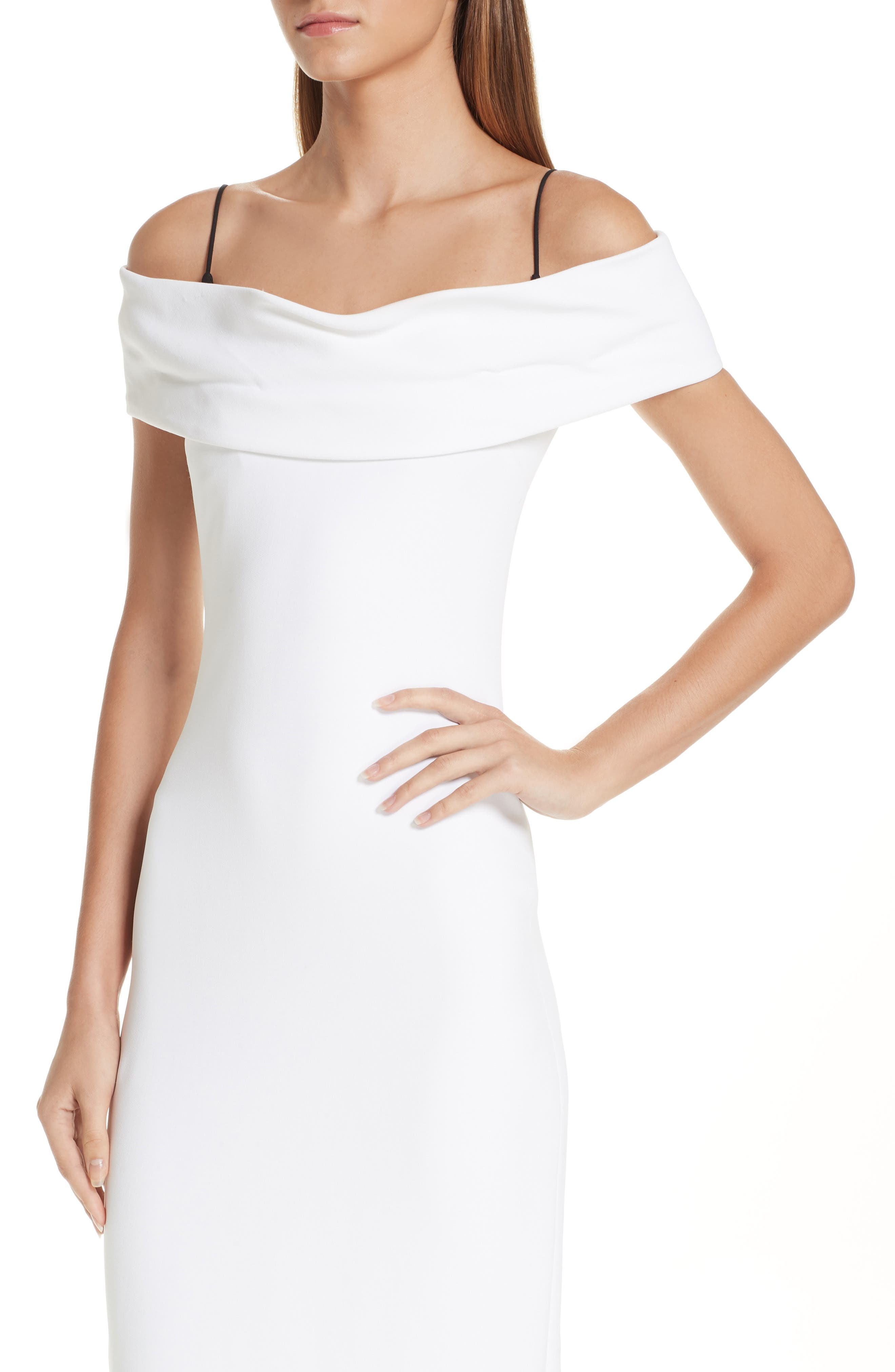 CUSHNIE, Layered Off the Shoulder Dress, Alternate thumbnail 5, color, WHITE/ BLACK