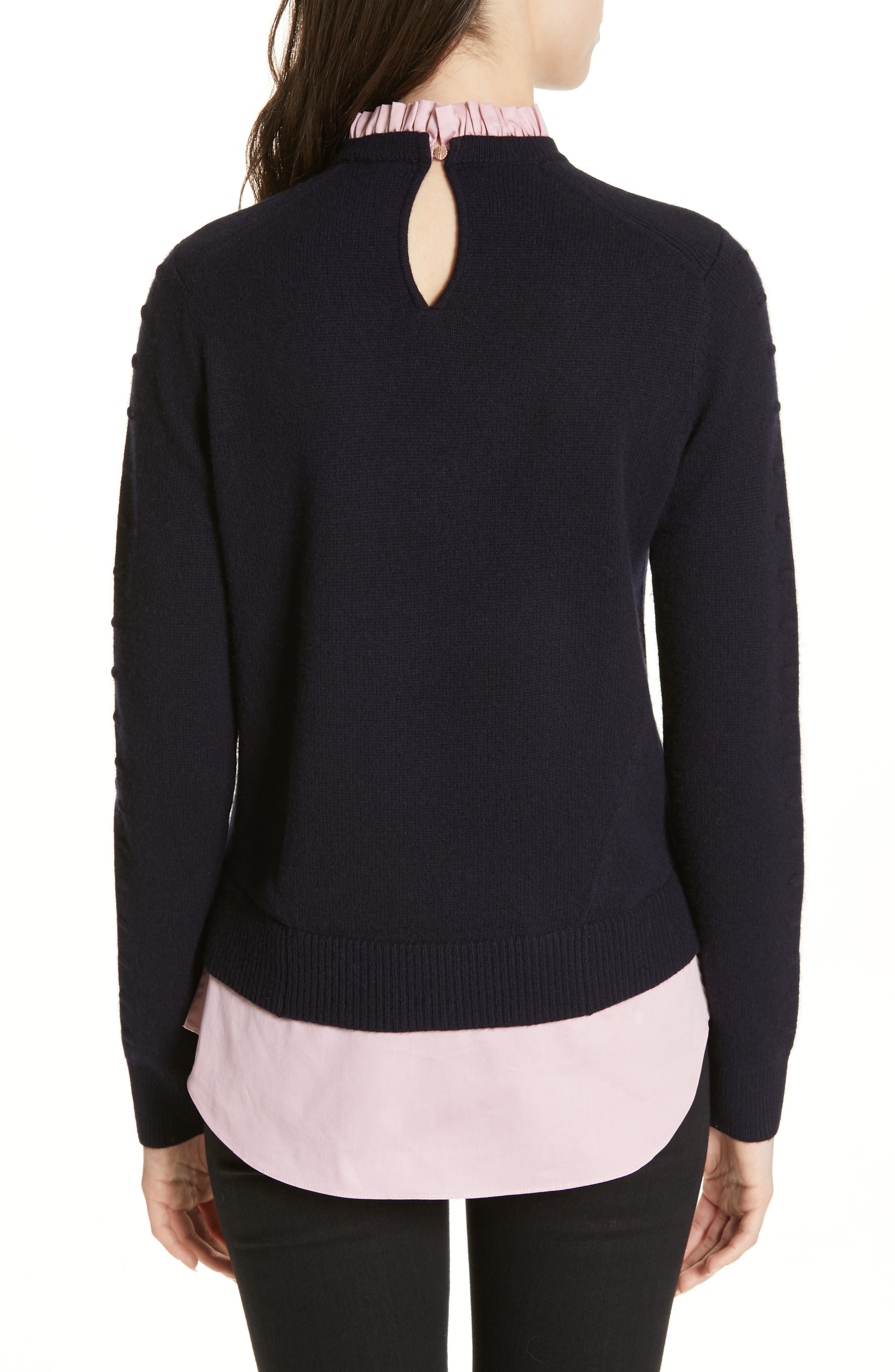 TED BAKER LONDON, Mock Two-Piece Sweater, Alternate thumbnail 2, color, NAVY