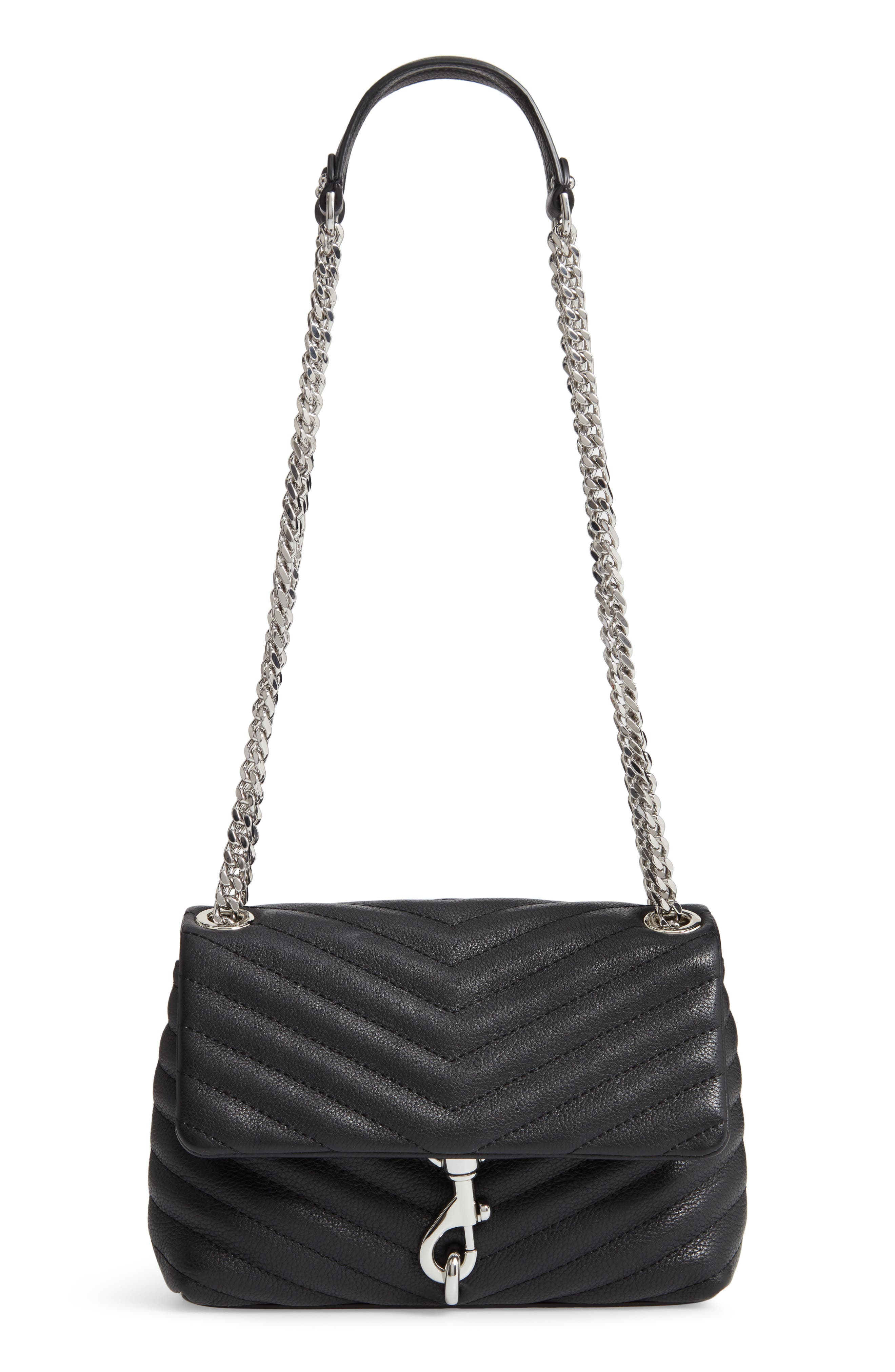 REBECCA MINKOFF, Edie Quilted Leather Crossbody Bag, Main thumbnail 1, color, BLACK