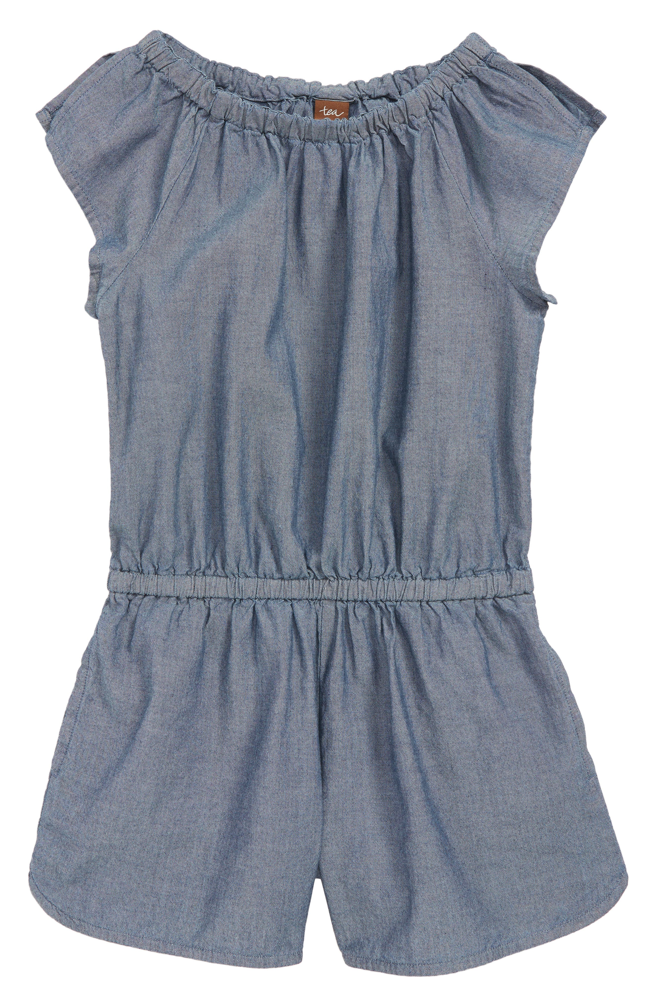 Girls Tea Collection Chambray Flutter Sleeve Romper Size 8  Blue