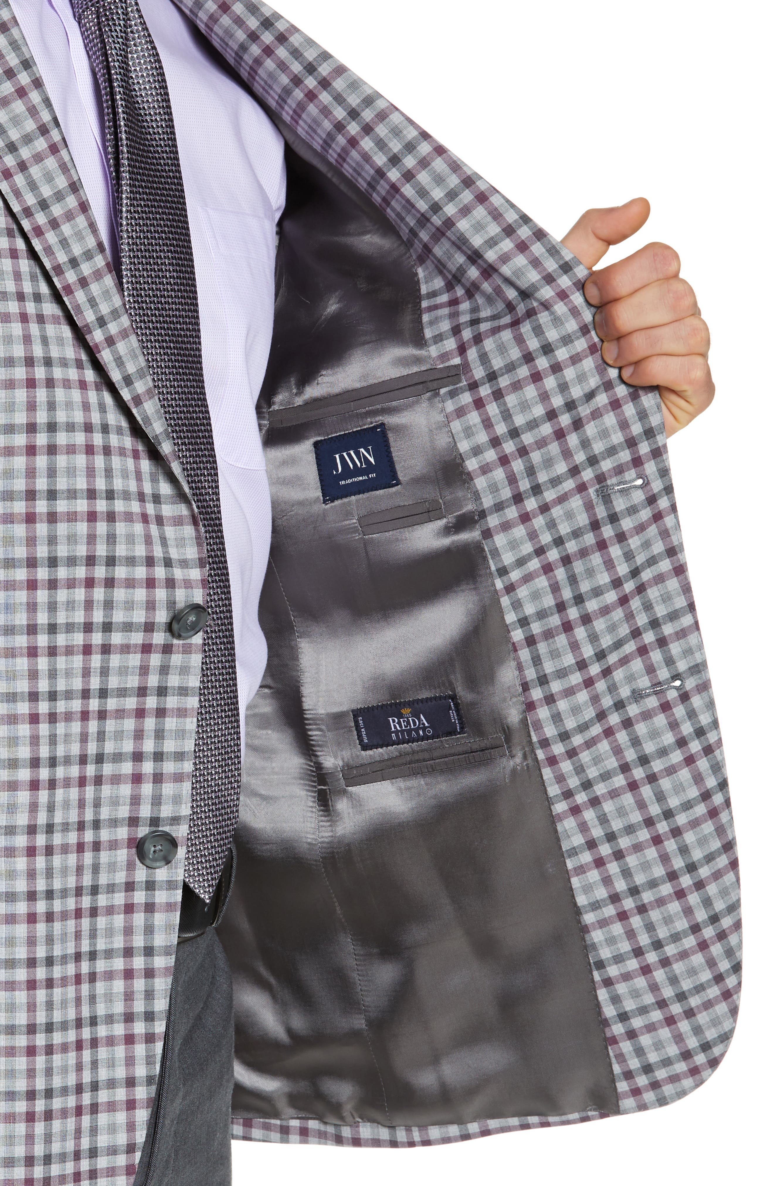 JOHN W. NORDSTROM<SUP>®</SUP>, Traditional Fit Check Sport Coat, Alternate thumbnail 4, color, GREY ALLOY BURGUNDY PLAID