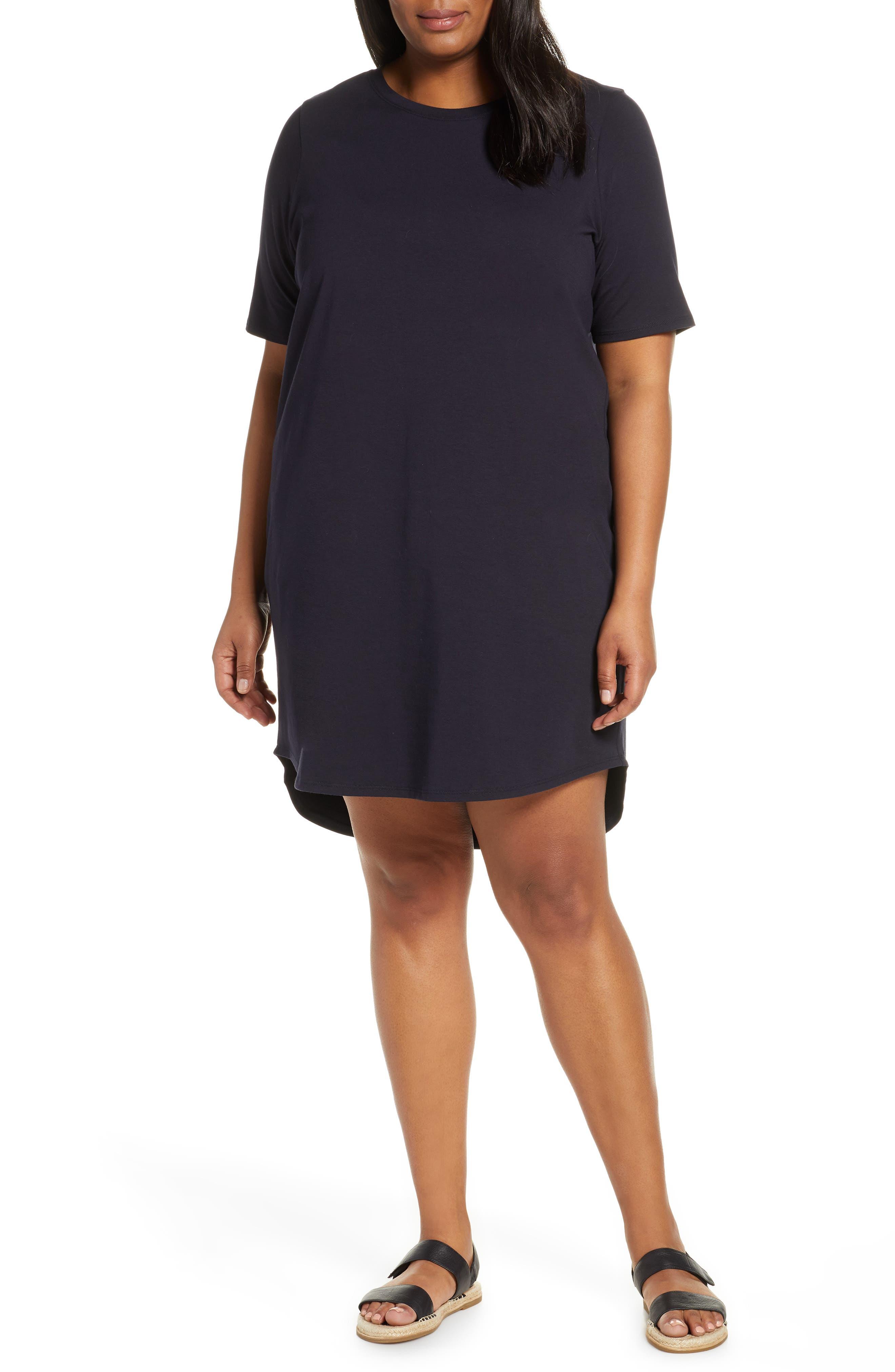 Plus Size Eileen Fisher Stretch Cotton Shift Dress, Blue