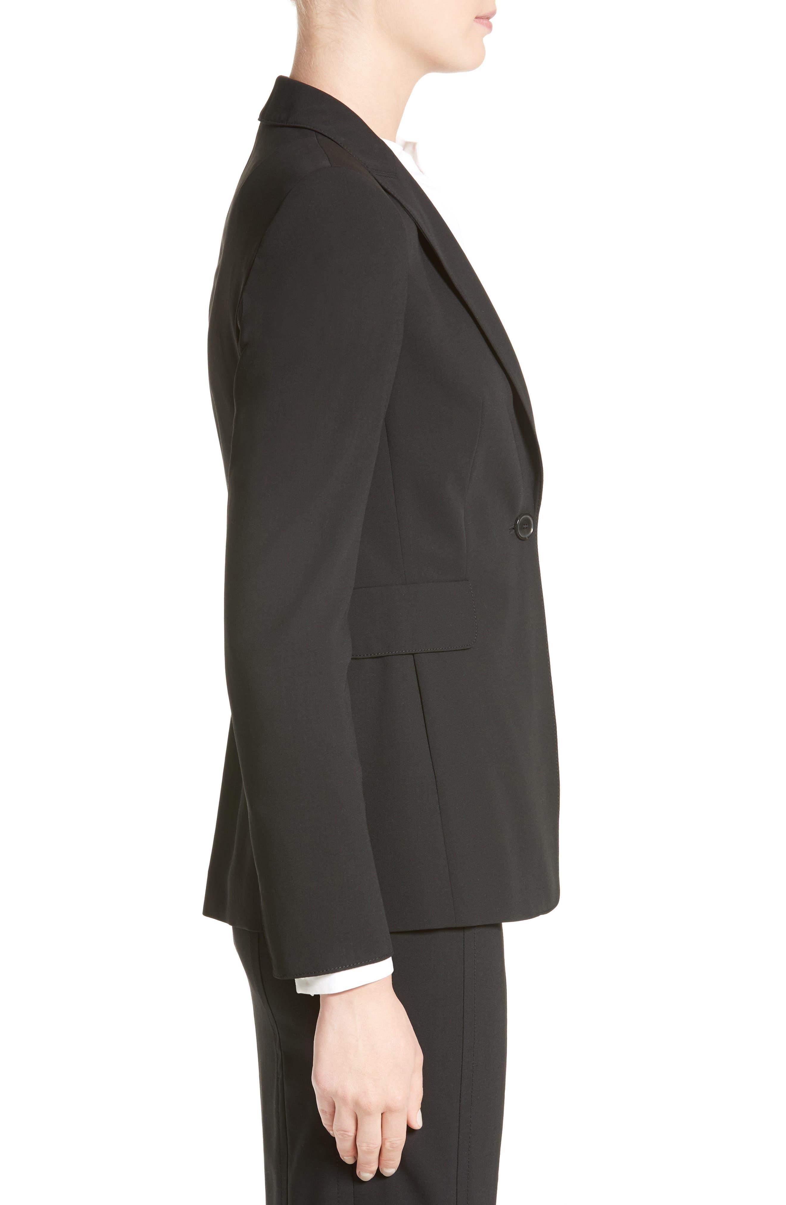 AKRIS PUNTO, Long One-Button Jacket, Alternate thumbnail 4, color, BLACK