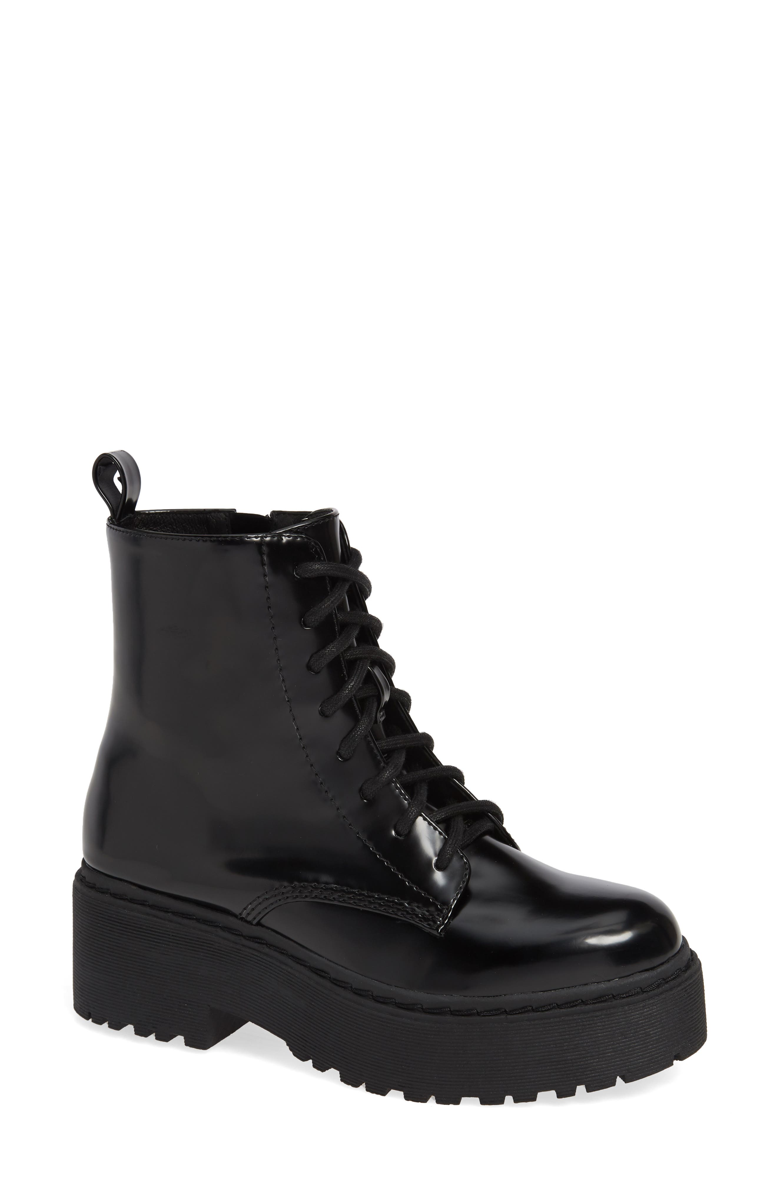 JEFFREY CAMPBELL District Combat Boot, Main, color, BLACK LEATHER