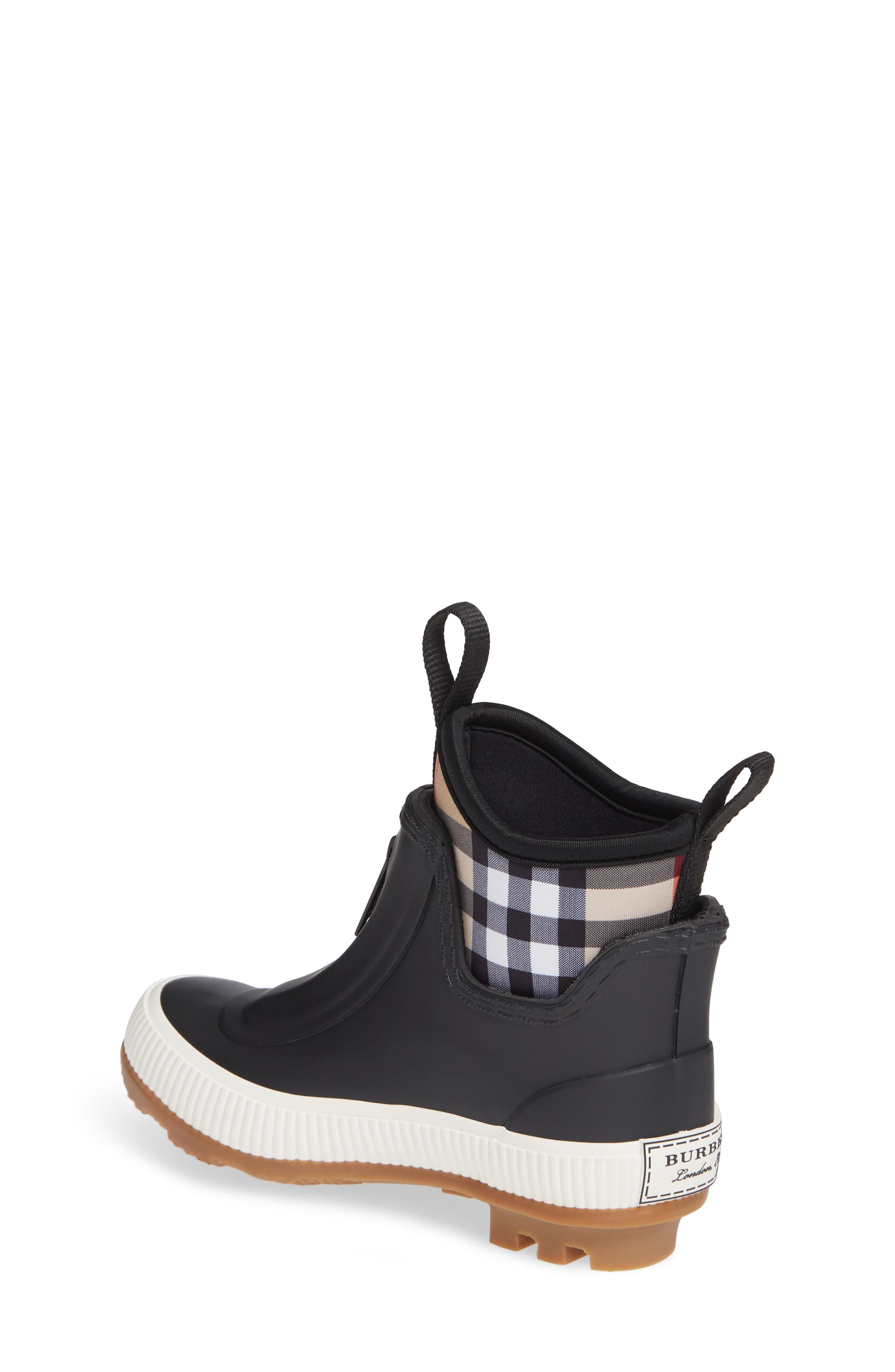 BURBERRY, Flinton Waterproof Rain Boot, Alternate thumbnail 2, color, BLACK