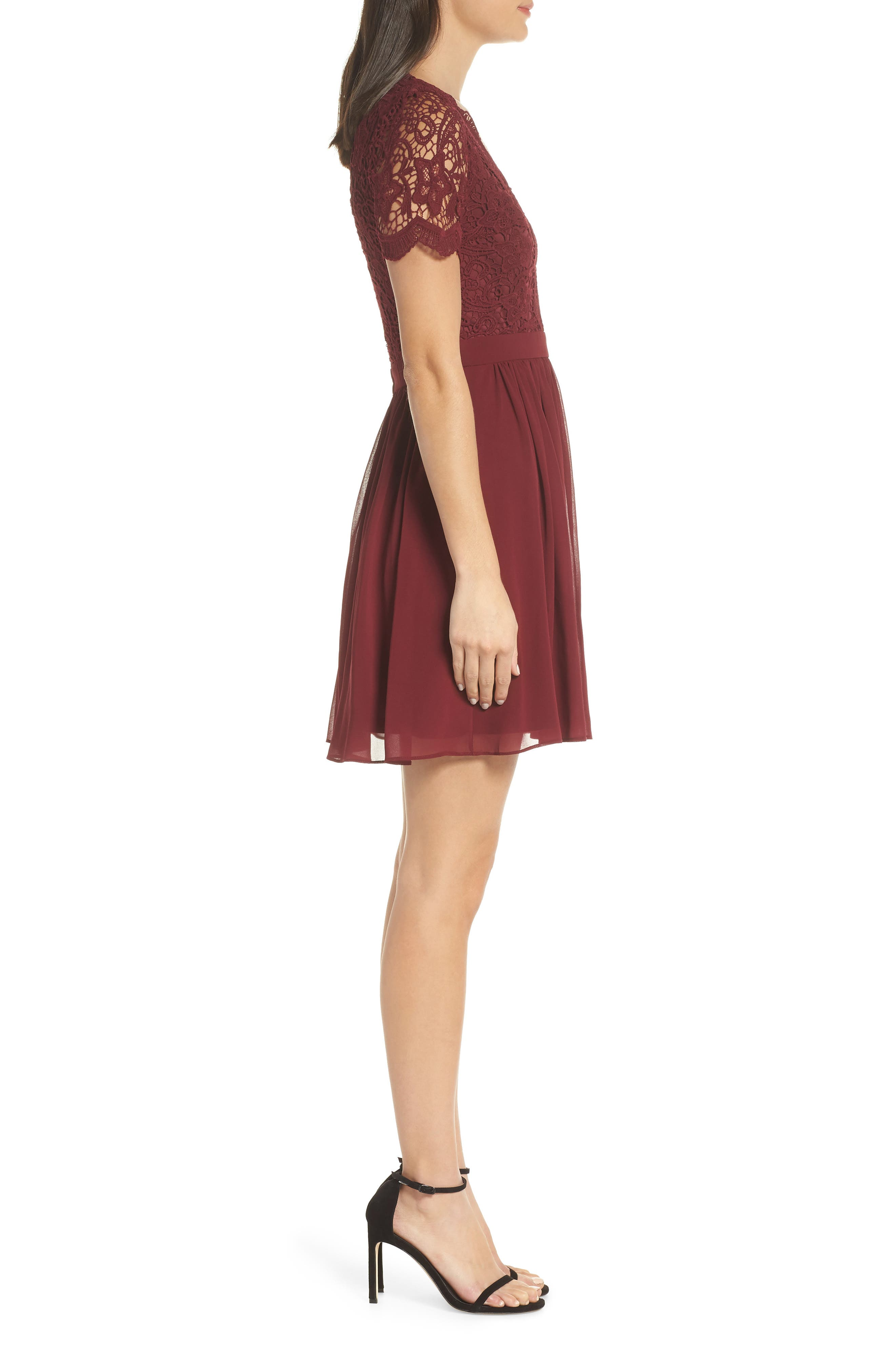 LULUS, Angel in Disguise Lace & Chiffon Party Dress, Alternate thumbnail 4, color, BURGUNDY