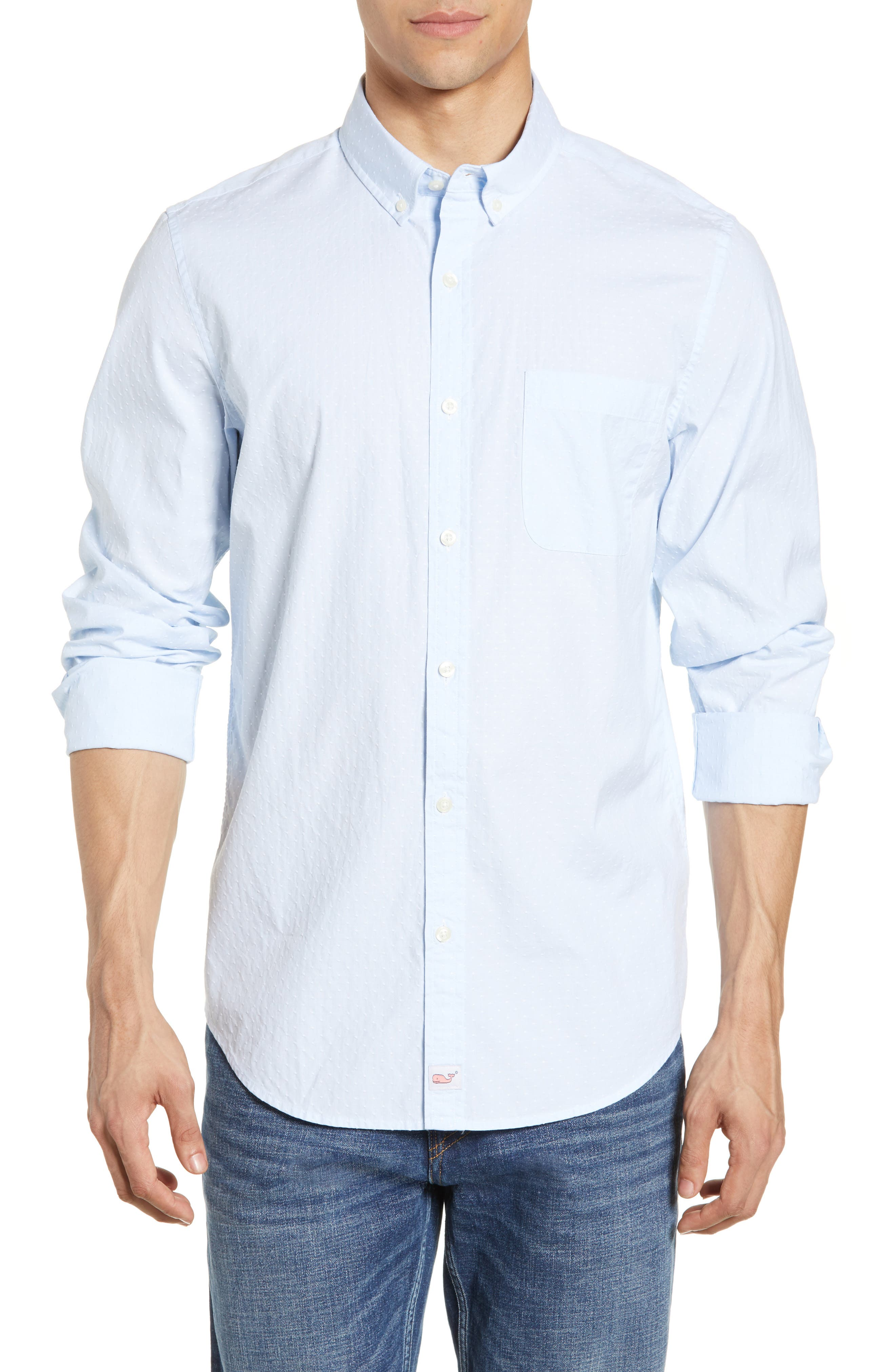 VINEYARD VINES, Wavine Slim Fit Dobby Sport Shirt, Main thumbnail 1, color, JAKE BLUE